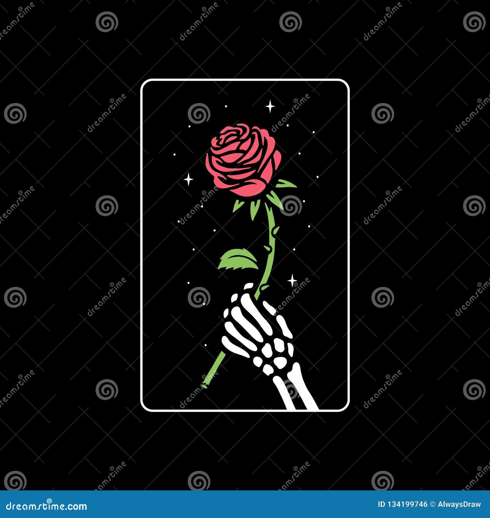 SKELETON HAND WITH ROSE FLOWER