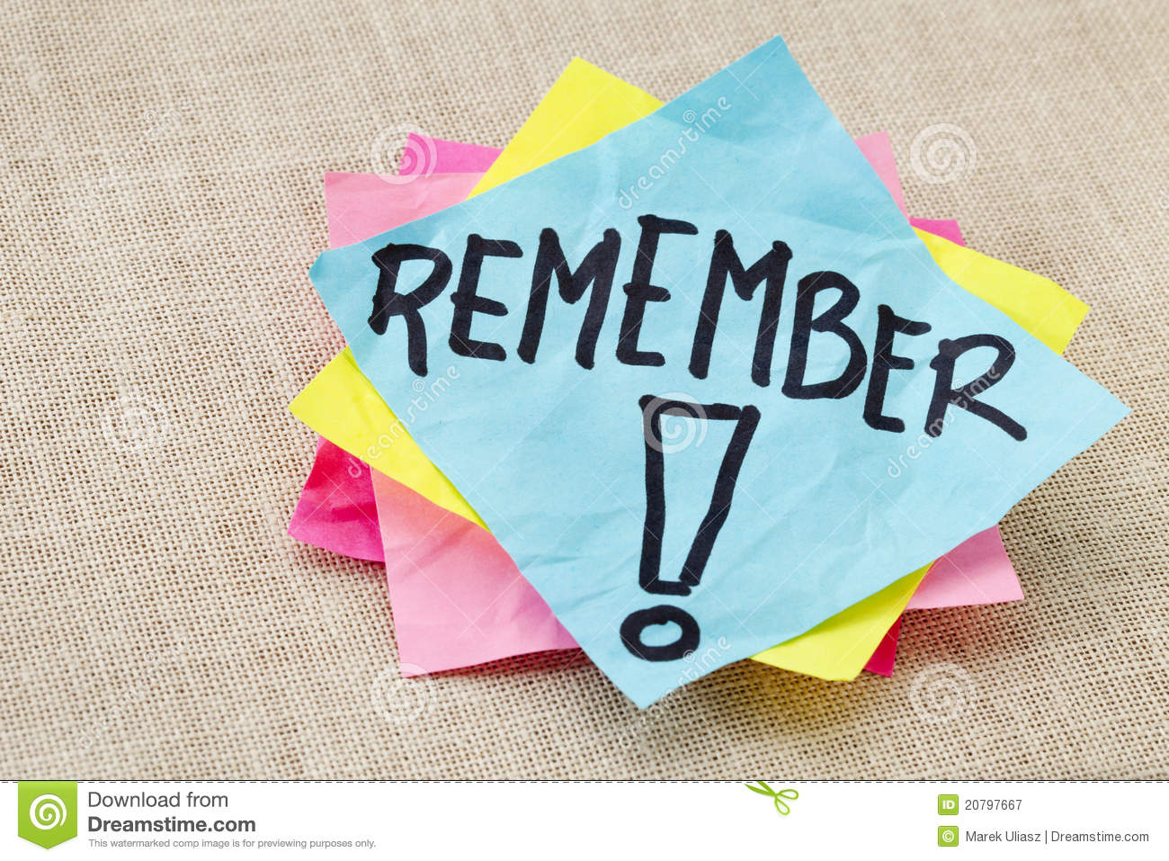 Remember on sticky note Royalty Free Stock Photography
