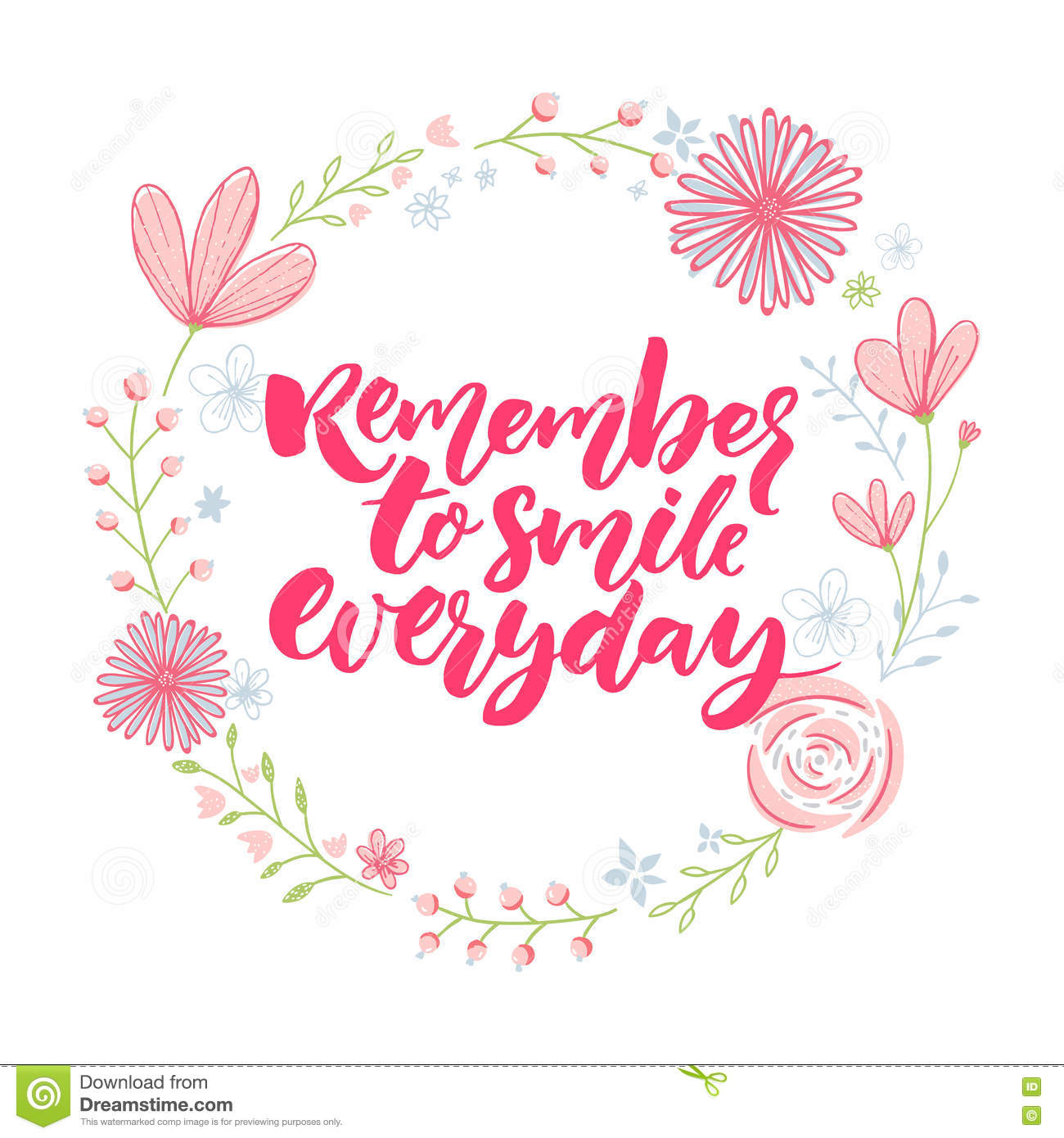 Download Remember To Smile Everyday Inspirational Saying In Floral Wreath Calligraphy With Flowers Decorations