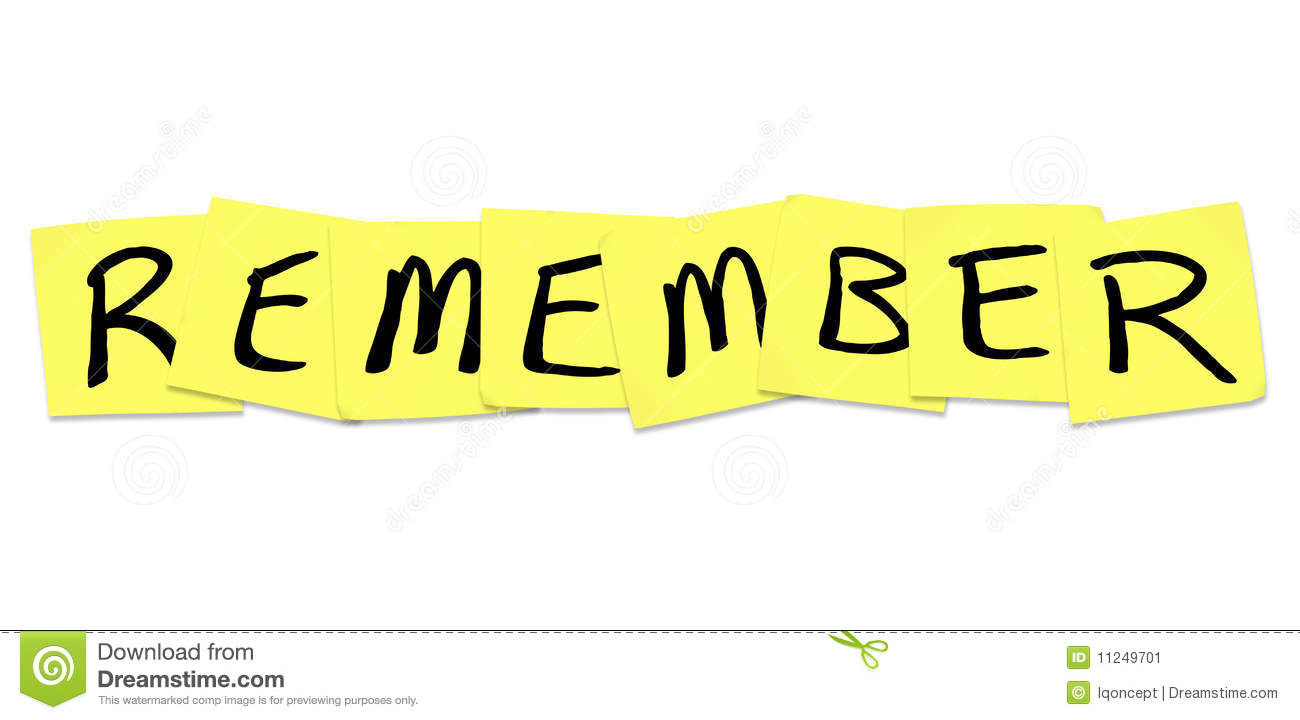 Remember Clipart Remember - Word on Yellow