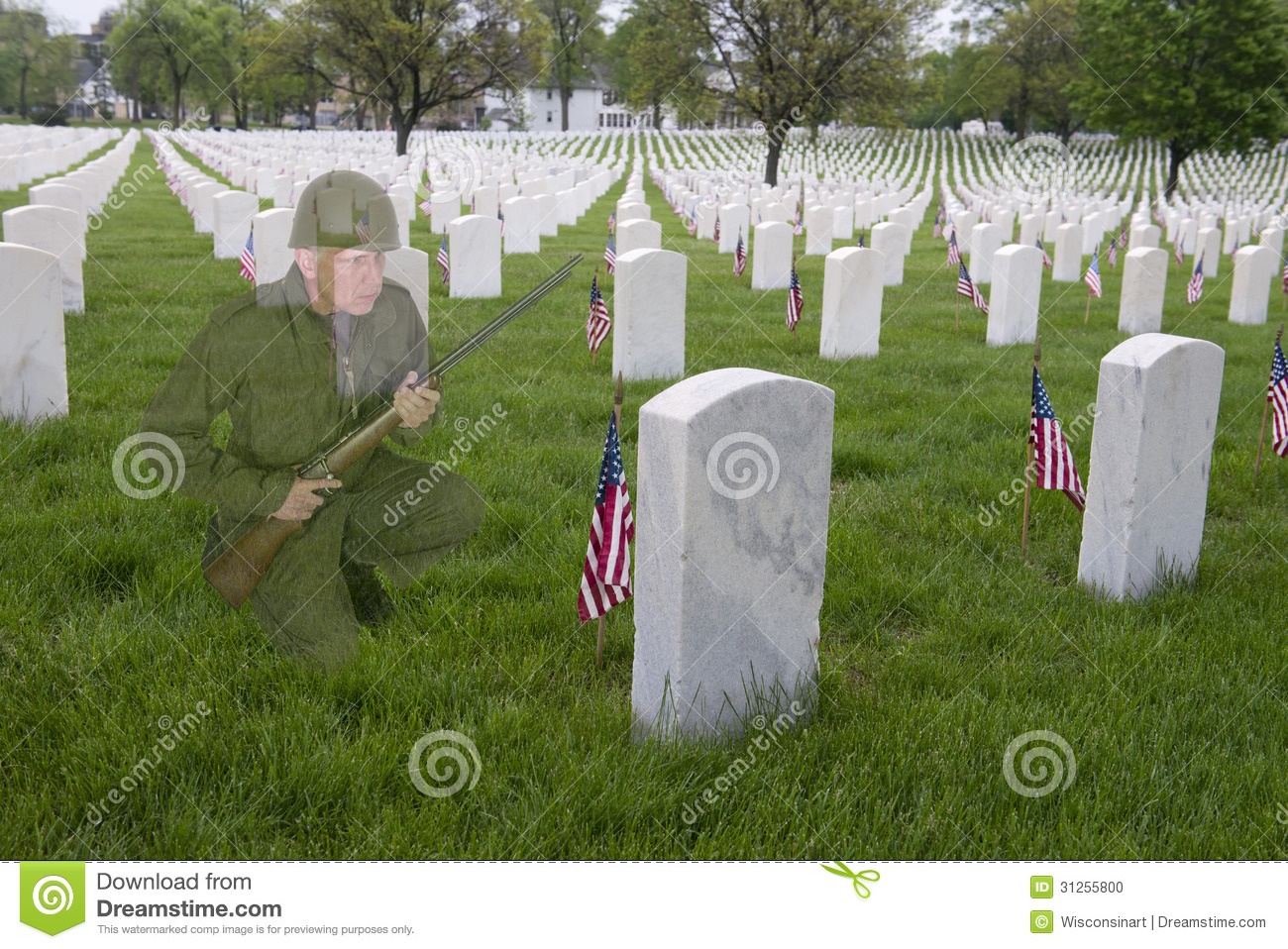 Veterans or memorial Day Concept, Soldier Cemetery
