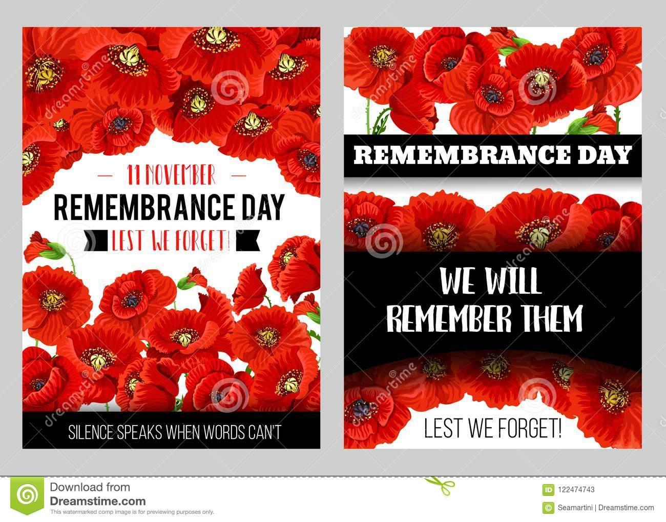 Remembrance Day Memorial Card Of Red Poppy Flower Stock Vector