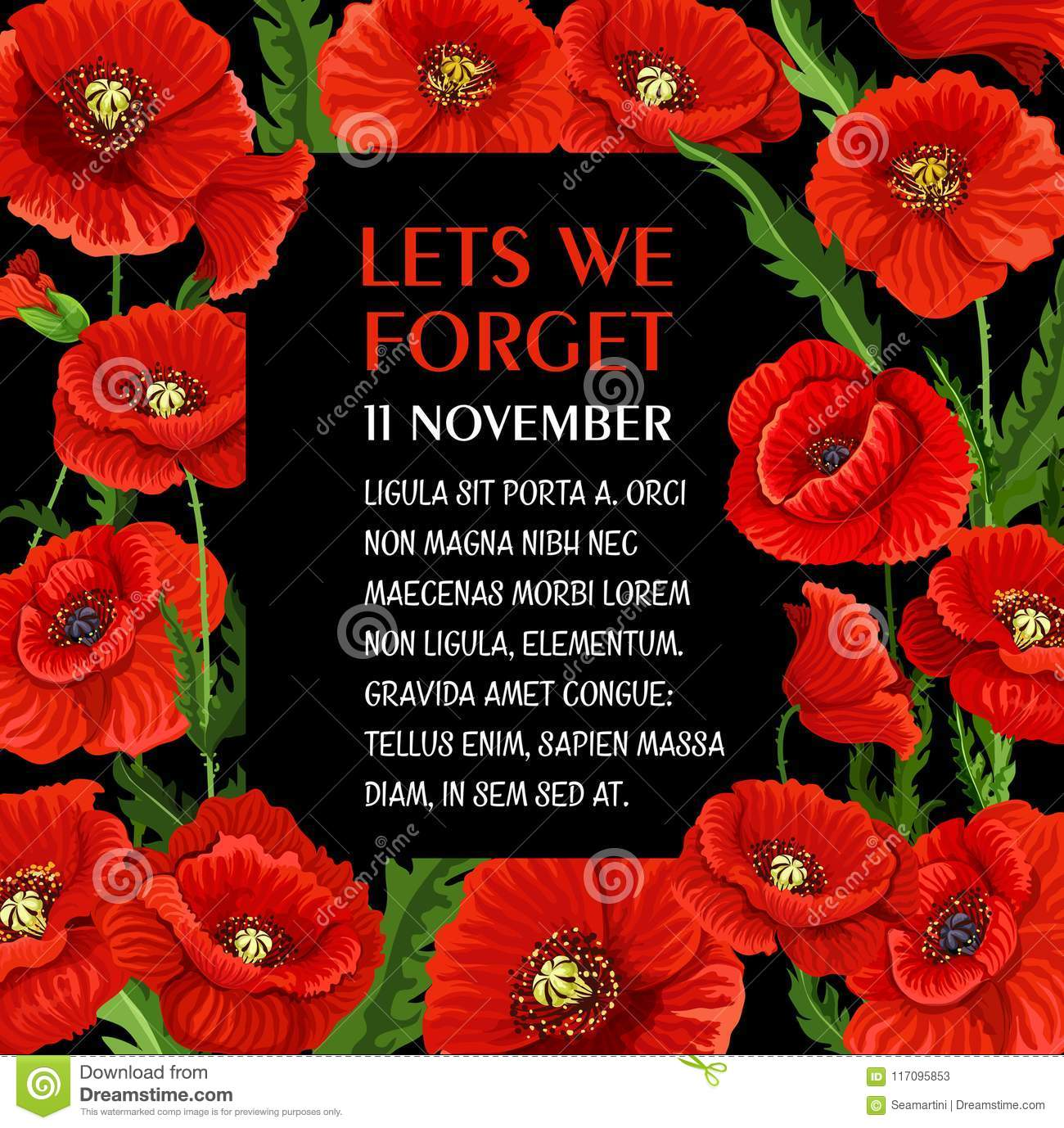 Remembrance Day 11 November Vector Poppy Poster Stock