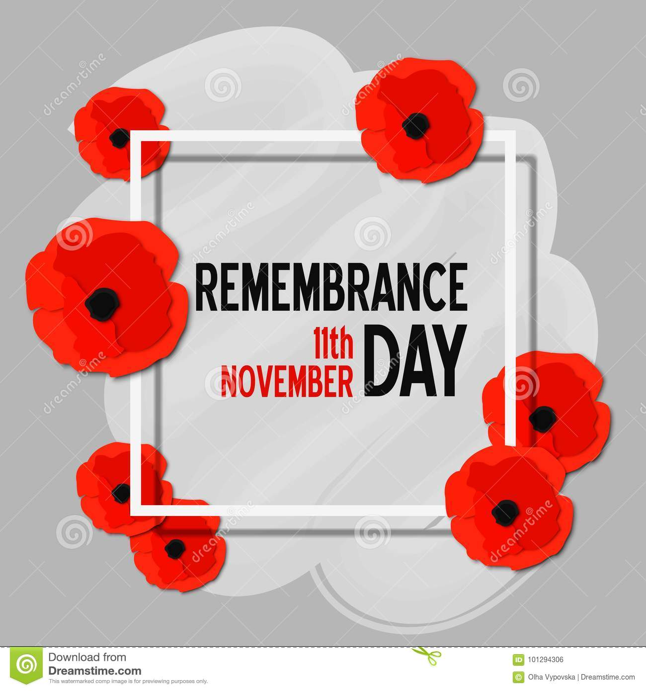 Remembrance Day Paper Cut Poster With Poppy Flowers And White Frame