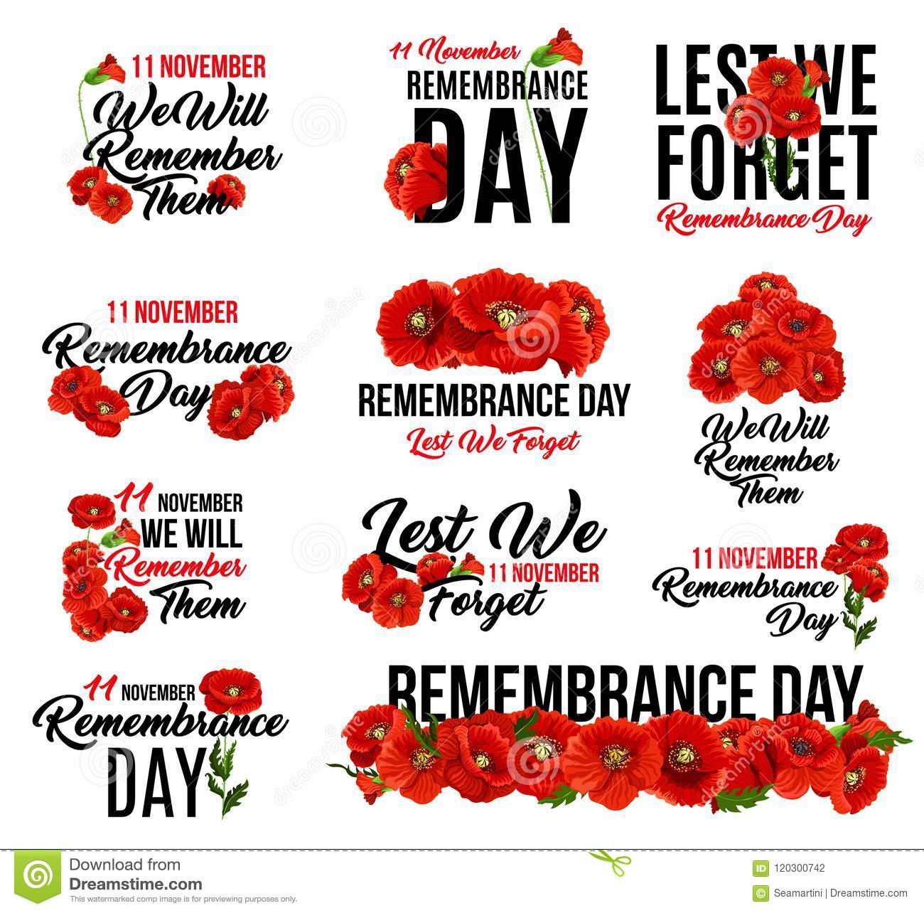 Remembrance Day Red Poppy Flower Icon Design Stock Vector
