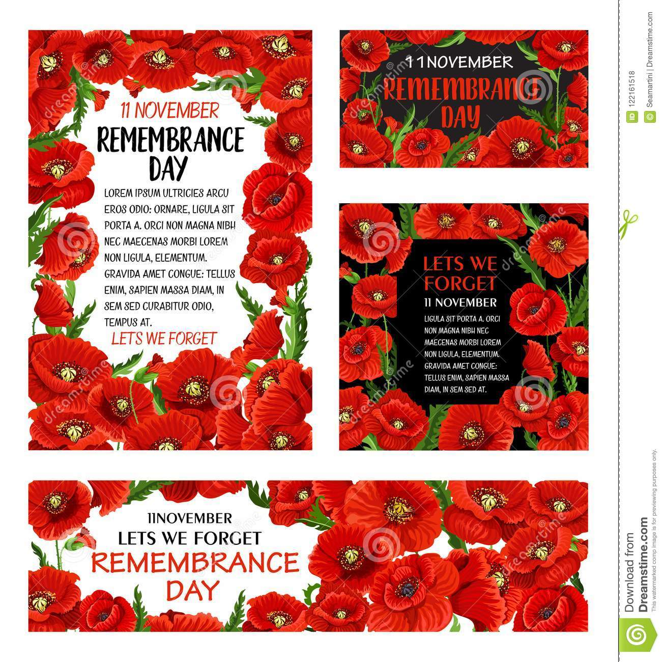 Remembrance Day Red Poppy Flower Poster Design Stock Vector