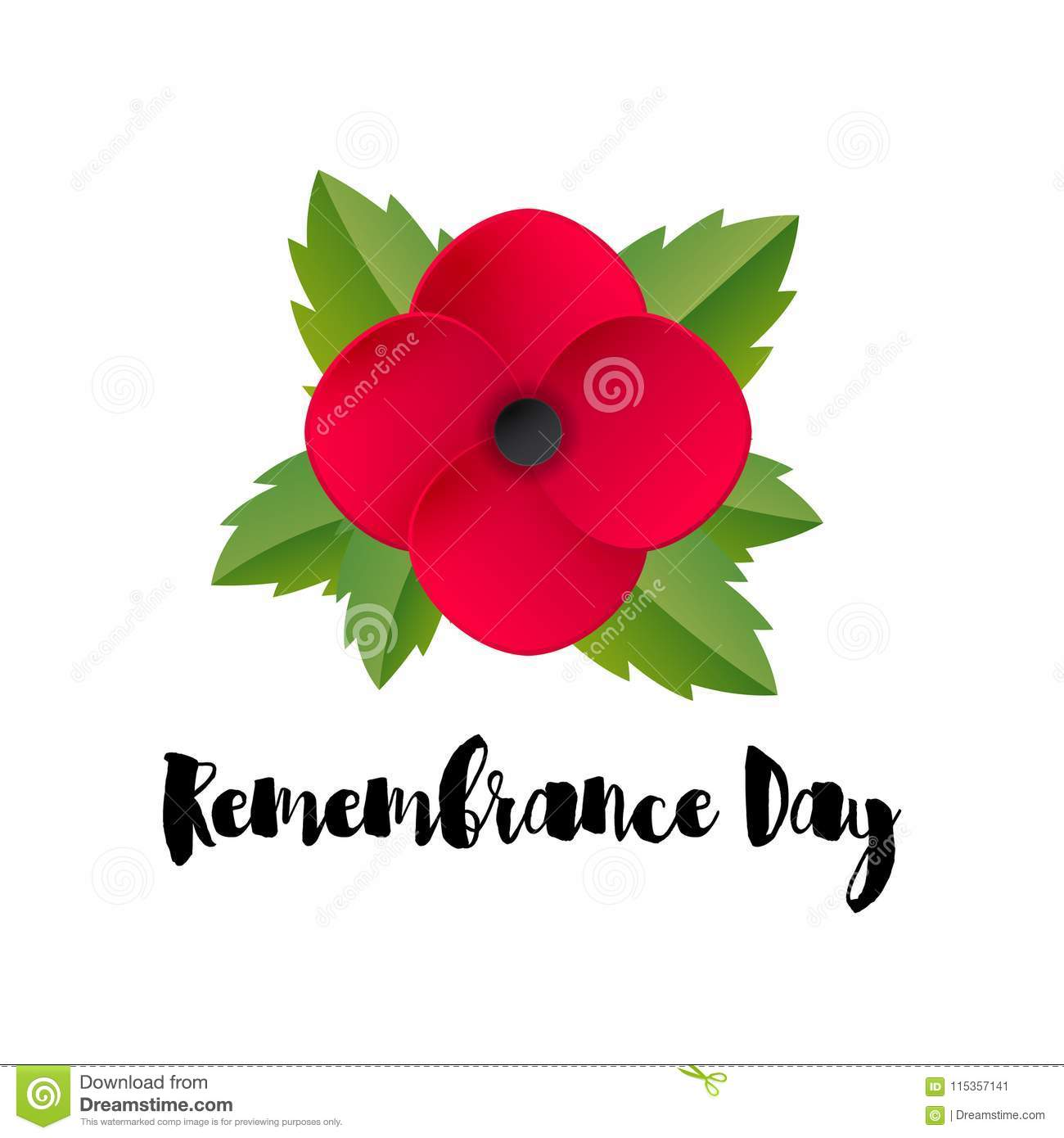 Remembrance day vector card red poppy flower stock vector anzac day red poppy flower international symbol of peace vector illustration eps 10 file mightylinksfo