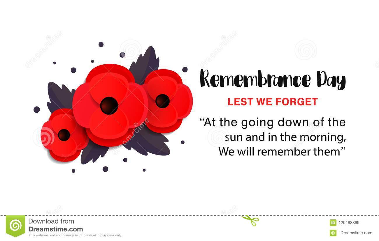 Remembrance Day Vector Poster Lest We Forget Paper Cut Red Poppy