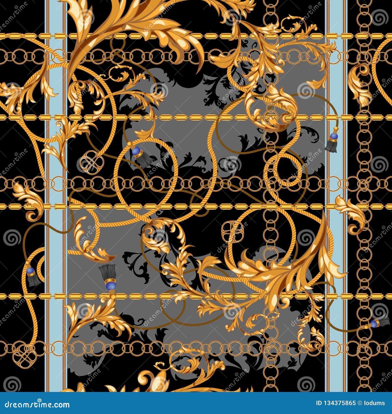 Remendo barroco com correntes douradas e estuque Teste padrão sem emenda para lenços, cópia, tela