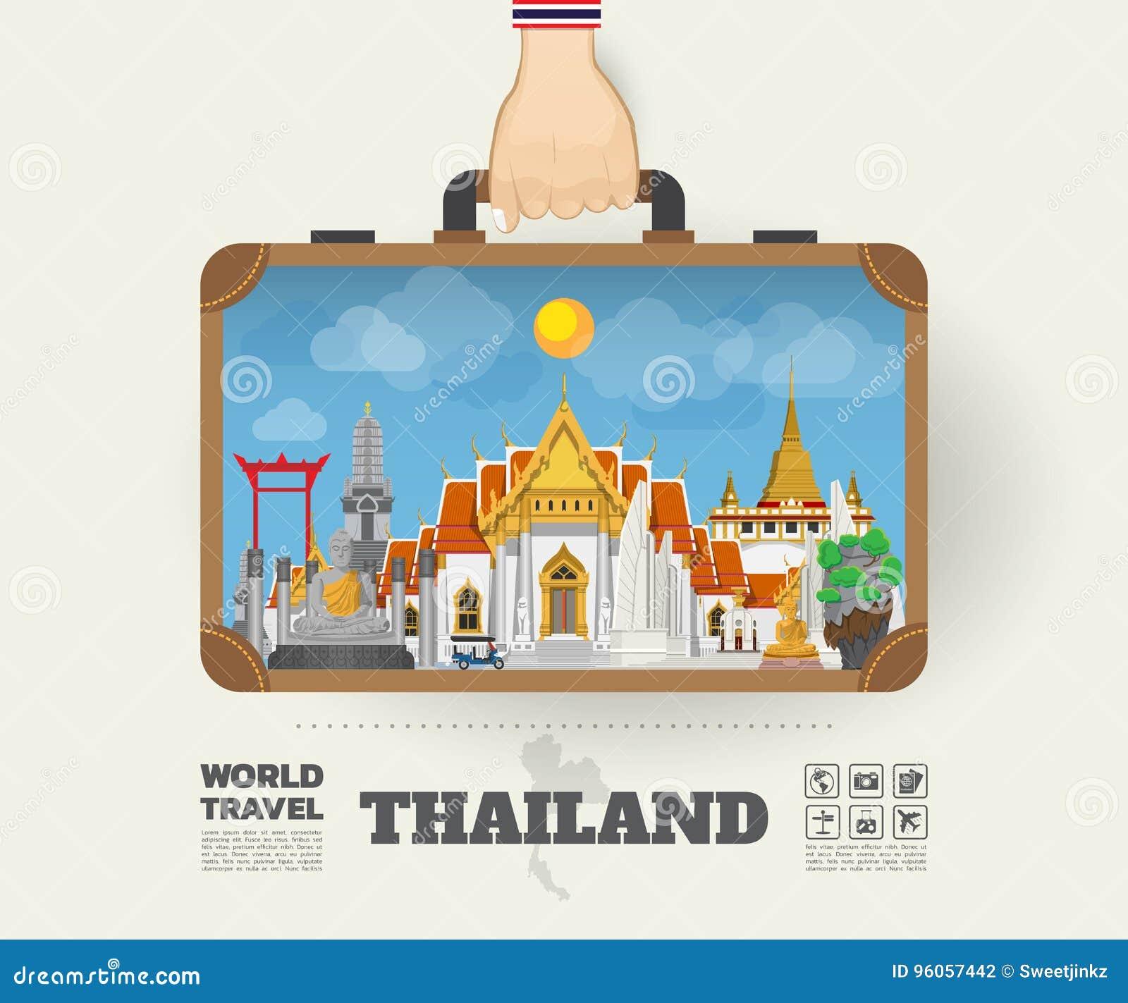 Remettez à point de repère de transport de la Thaïlande le voyage et le voyage globaux Infogr