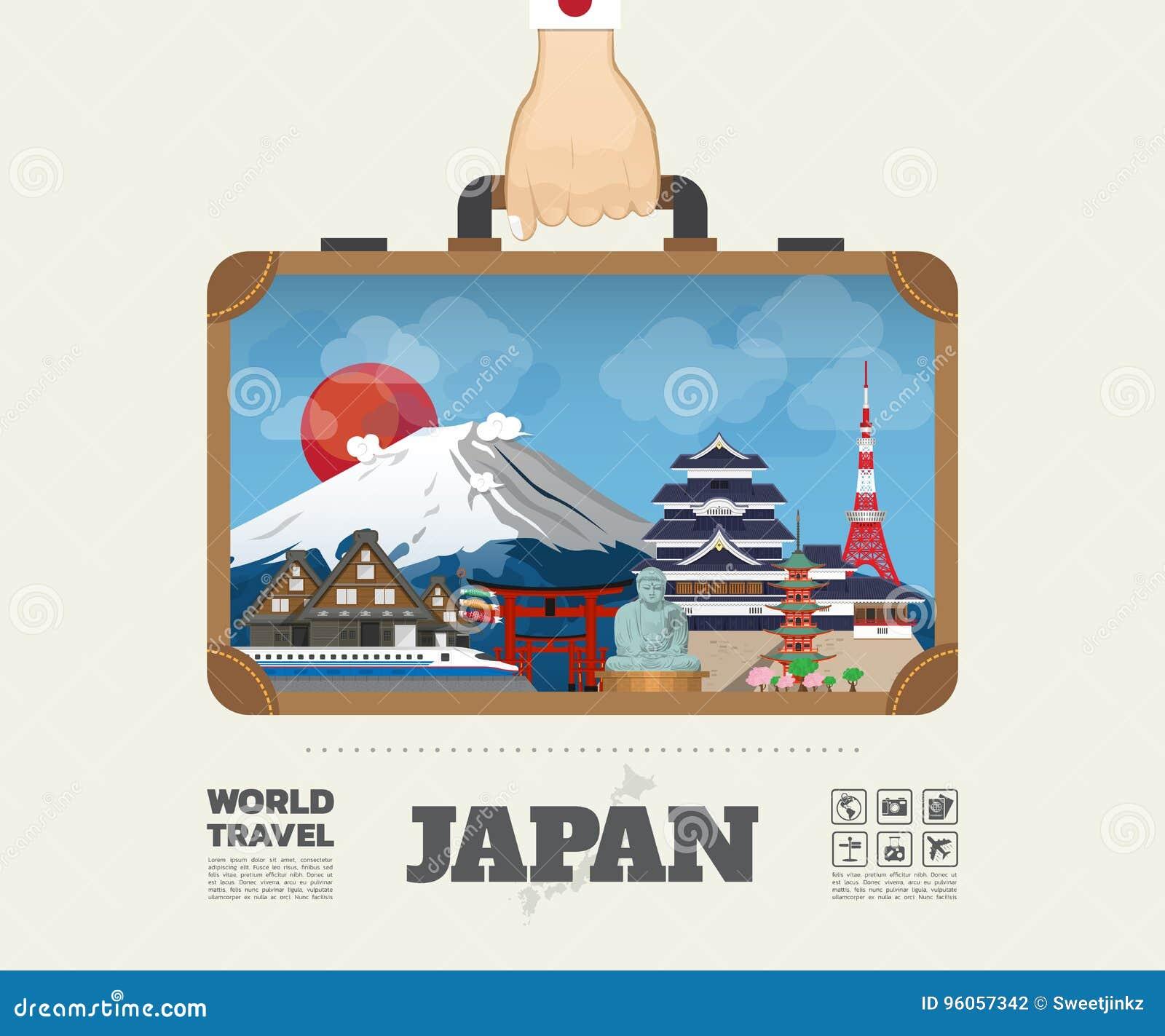 Remettez à point de repère de transport du Japon le voyage et le voyage globaux Infograph