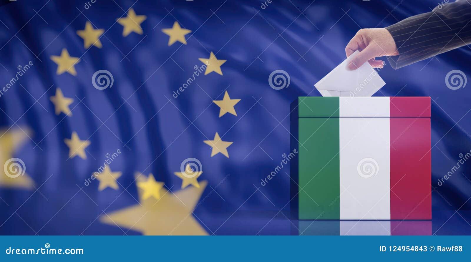 Remettez insérer une enveloppe dans une urne de drapeau de l Italie sur le fond de drapeau d Union européenne illustration 3D