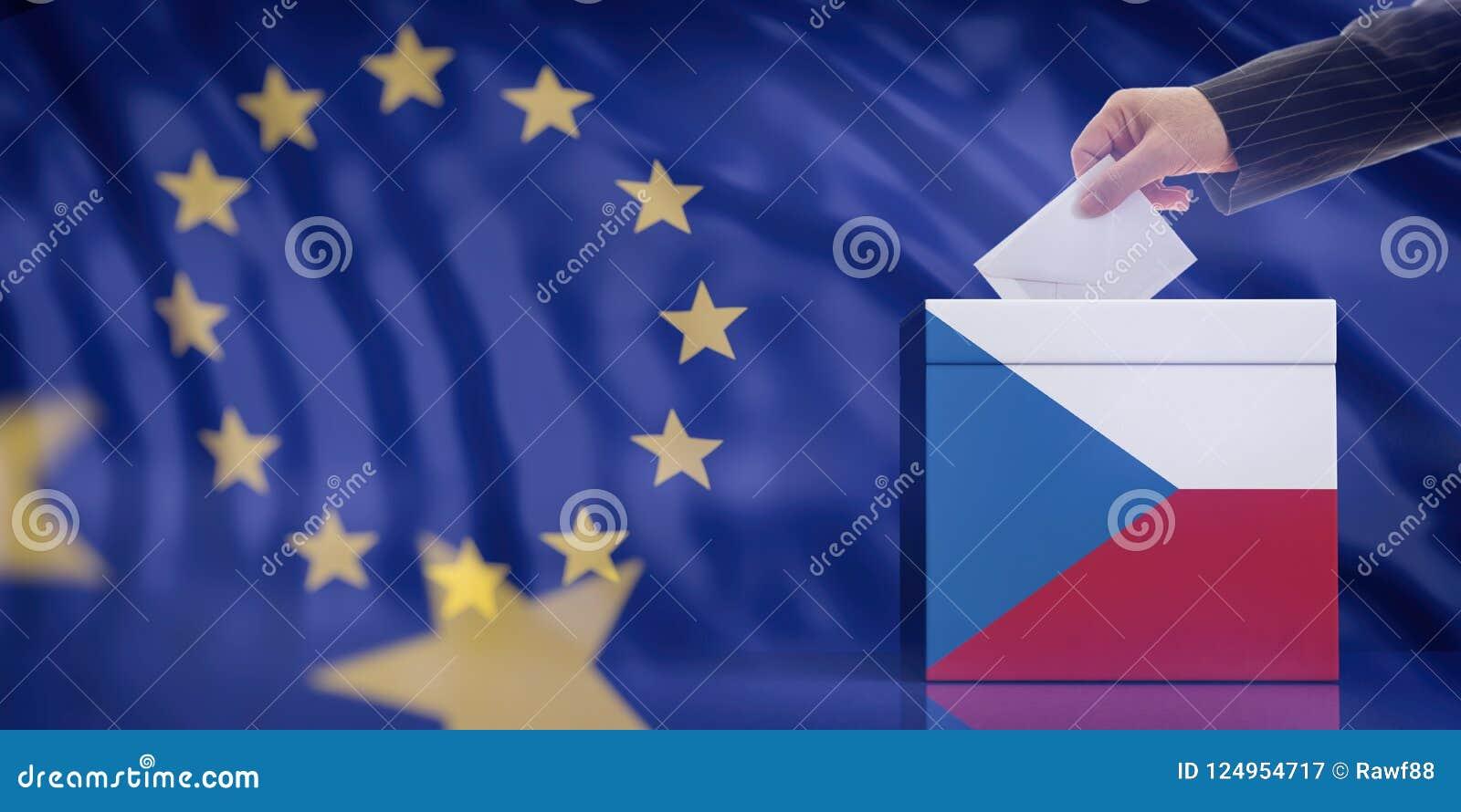 Remettez insérer une enveloppe dans une urne de drapeau de République Tchèque sur le fond de drapeau d Union européenne illustrat