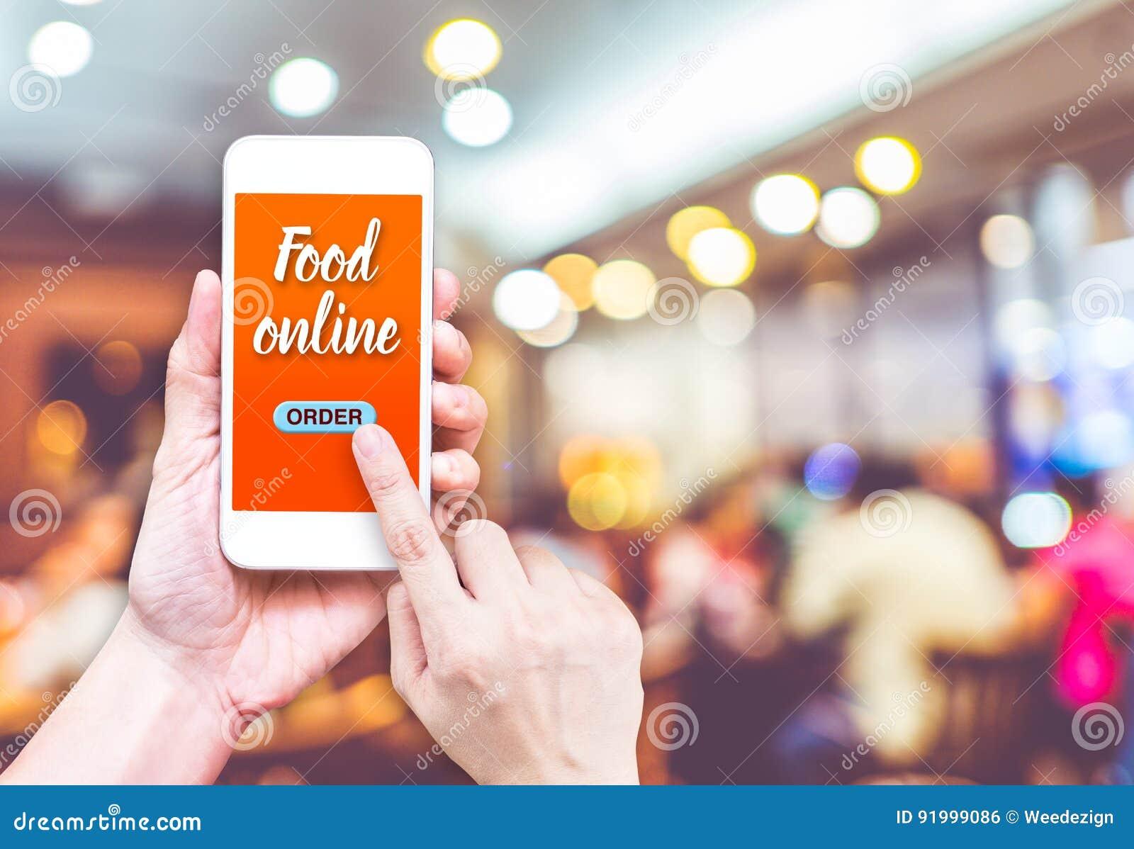 Remettez juger mobile avec la nourriture d ordre en ligne avec le restaurant de tache floue