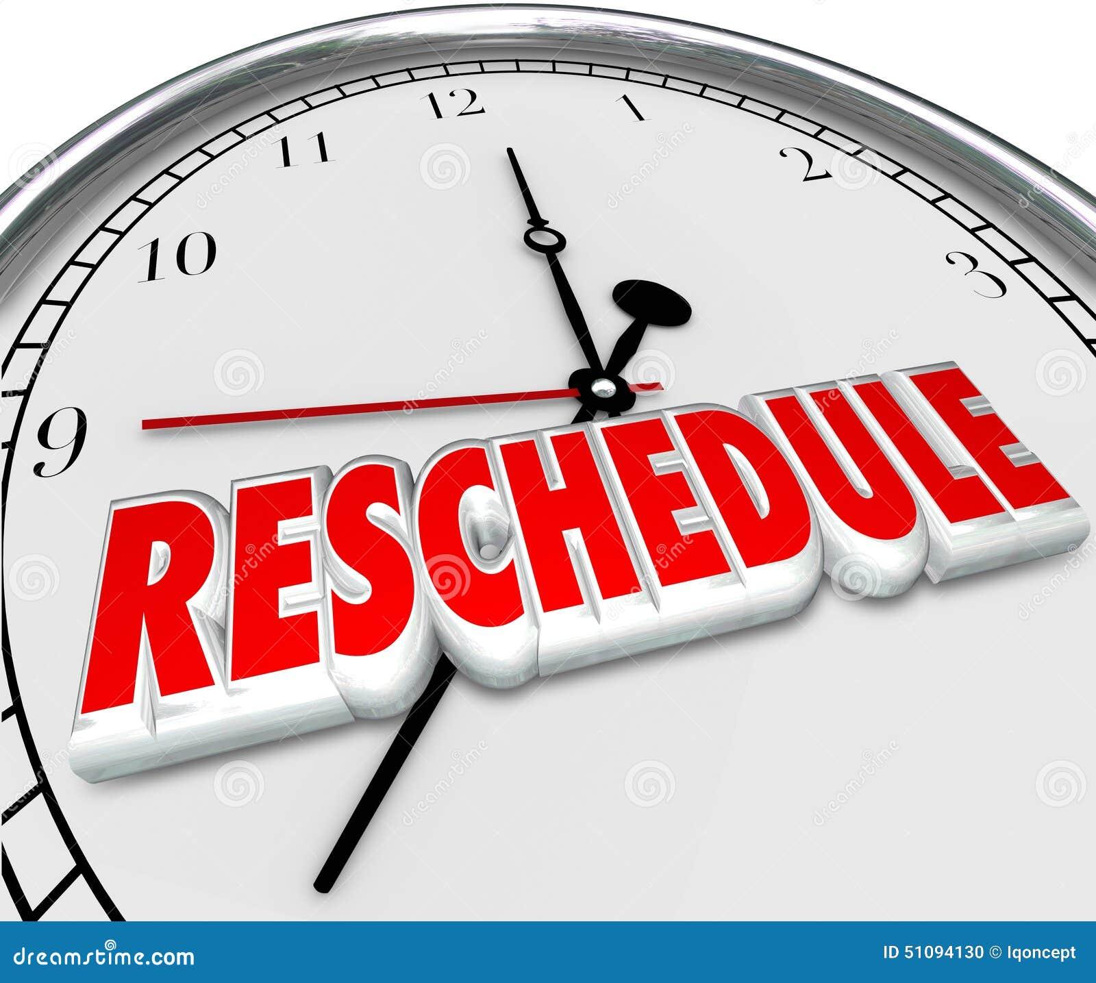 Remettez l horloge à plus tard défunt Apponitment Cance de mots d ajournement de retard