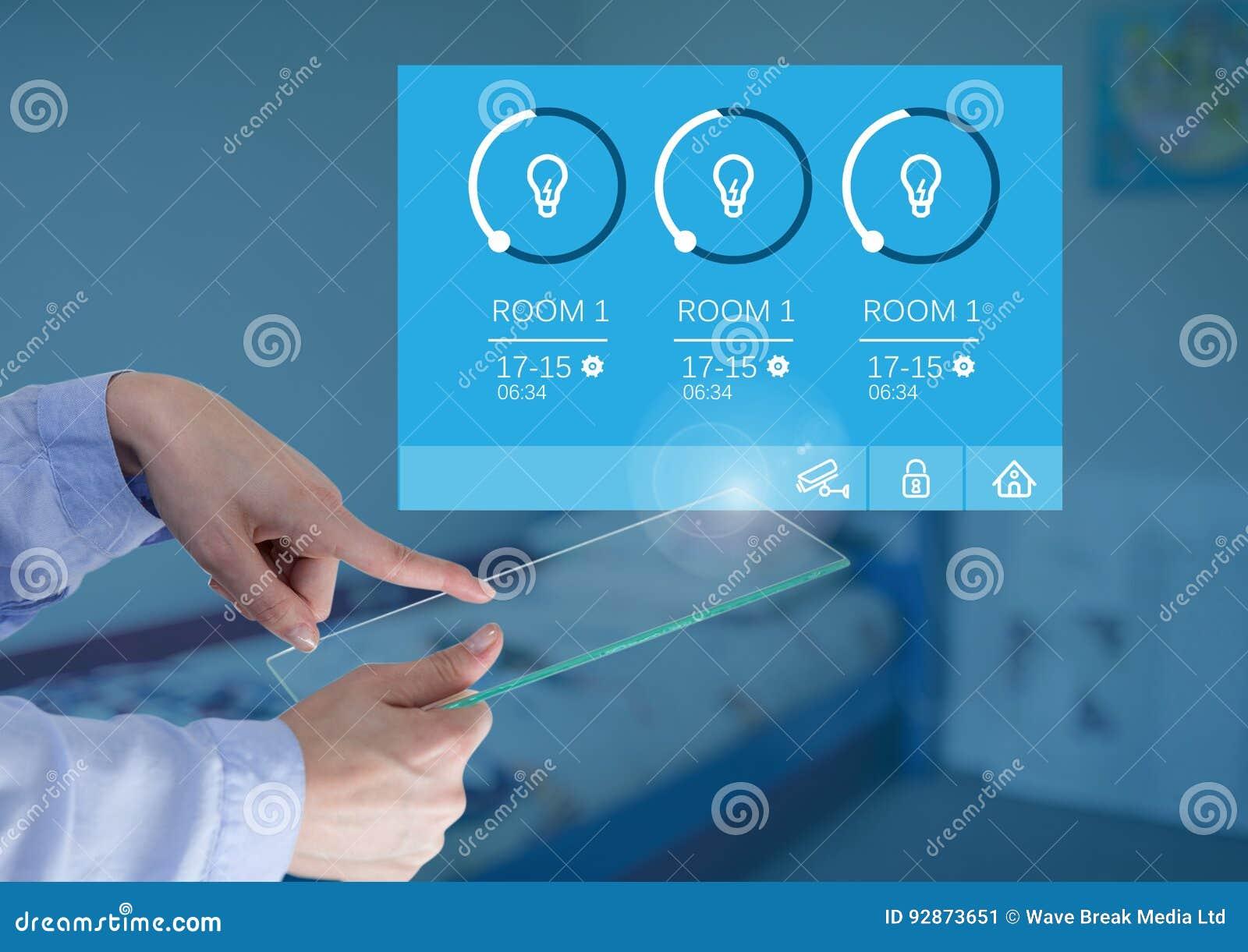 Remettez l interface en verre émouvante des lumières APP d écran et de système de domotique