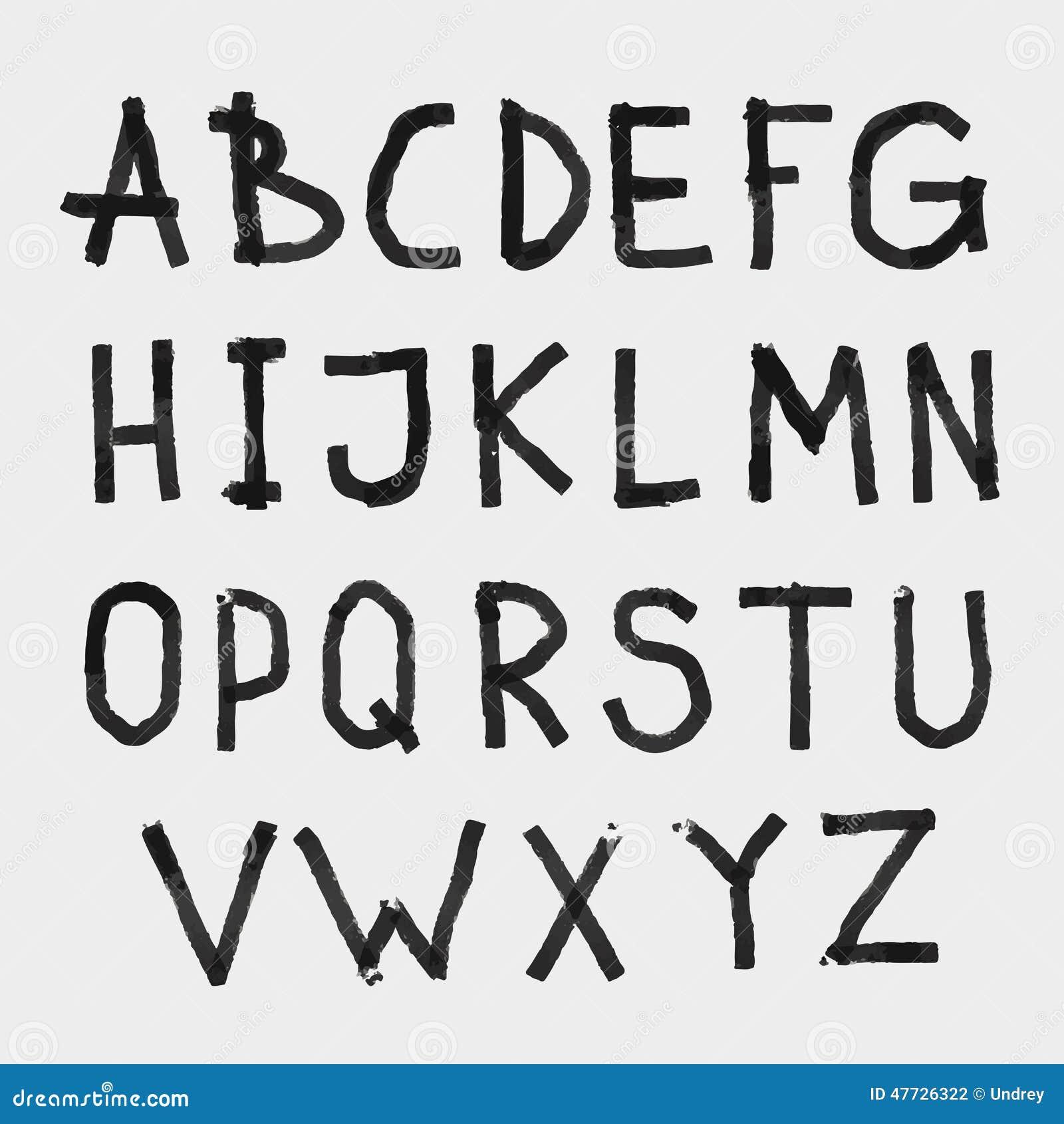 Remettez la police texturisée rugueuse de dessin d alphabet d ABC de craie sur le tableau noir