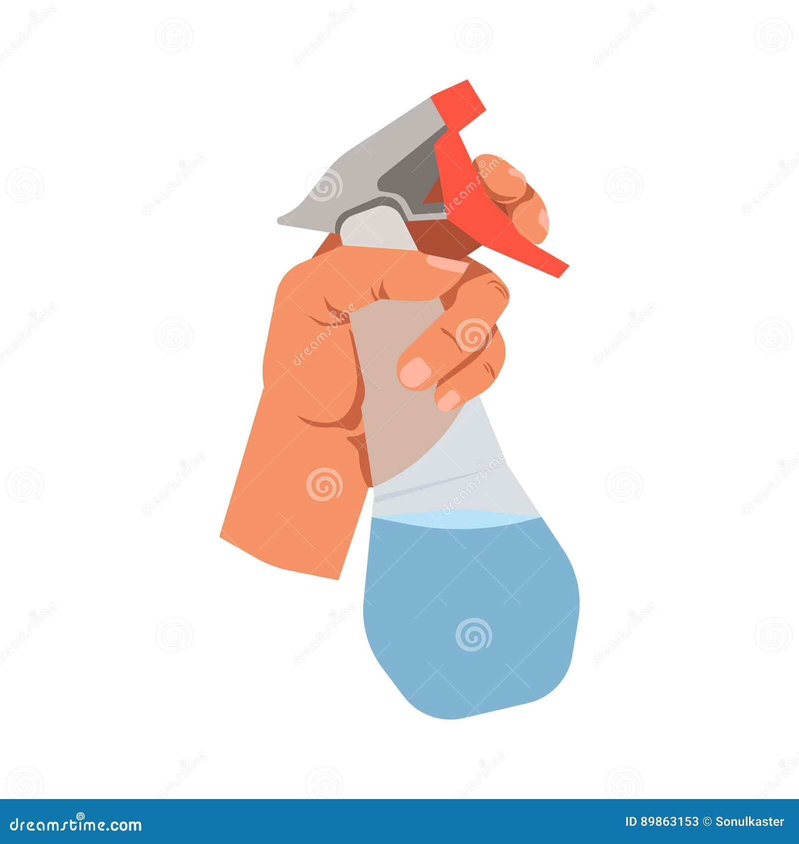 Remettez tenir l icône d isolement parappartement en verre de vecteur de jet de détergent