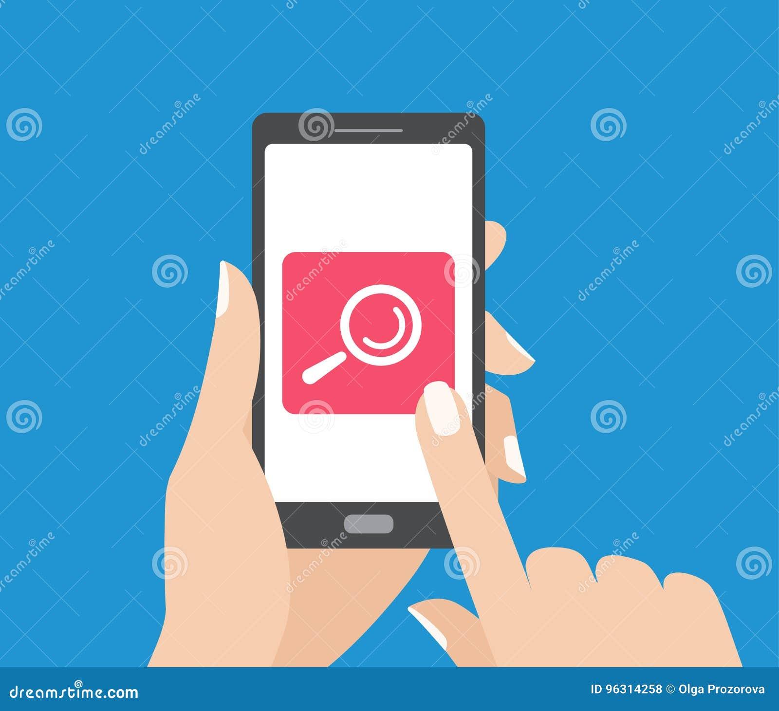 Remettez tenir le smartphone et toucher l écran avec le bouton de recherche Icône de loupe