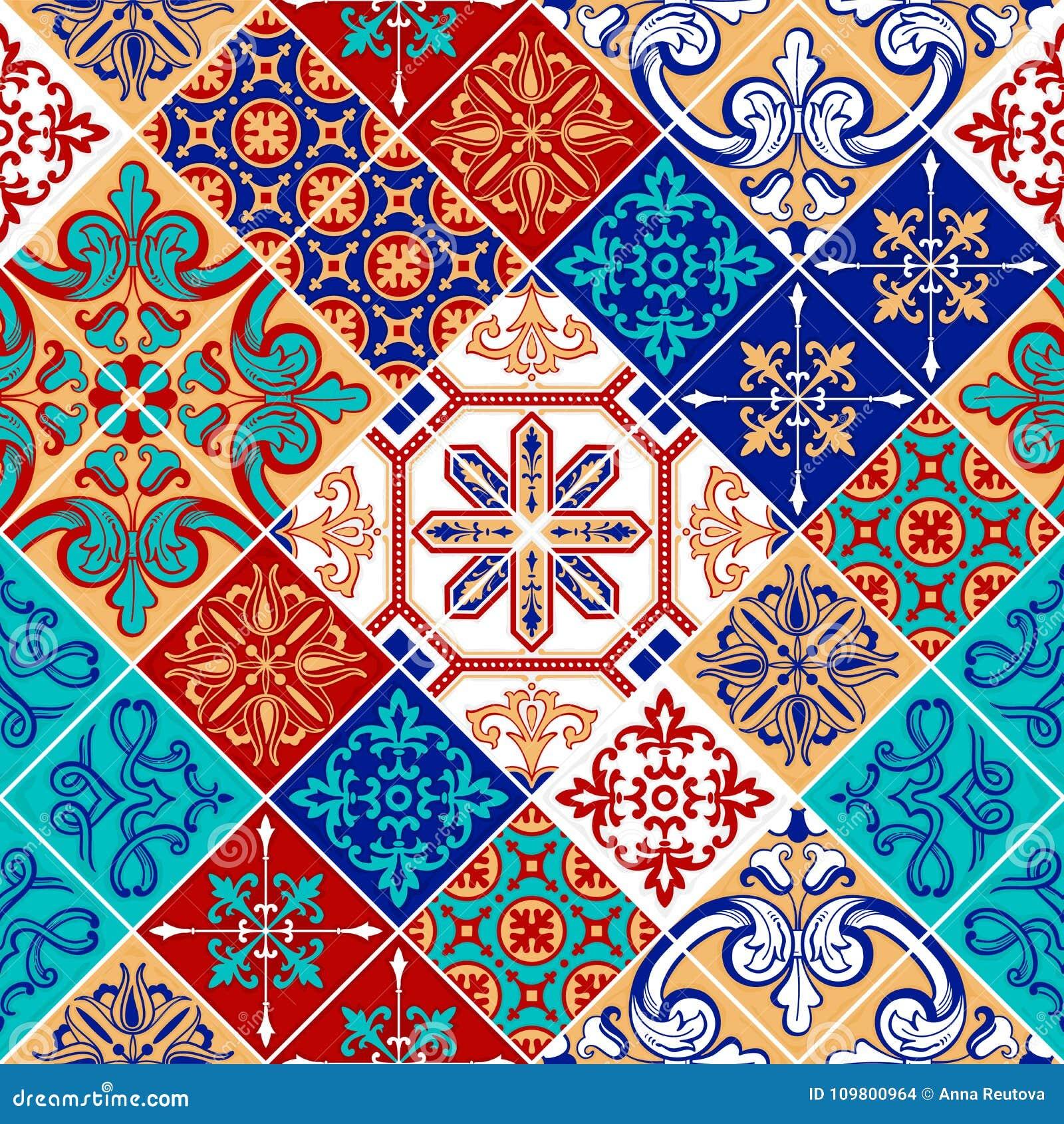 Remiendo del modelo de Azulejo, ornamento tradicional de la teja