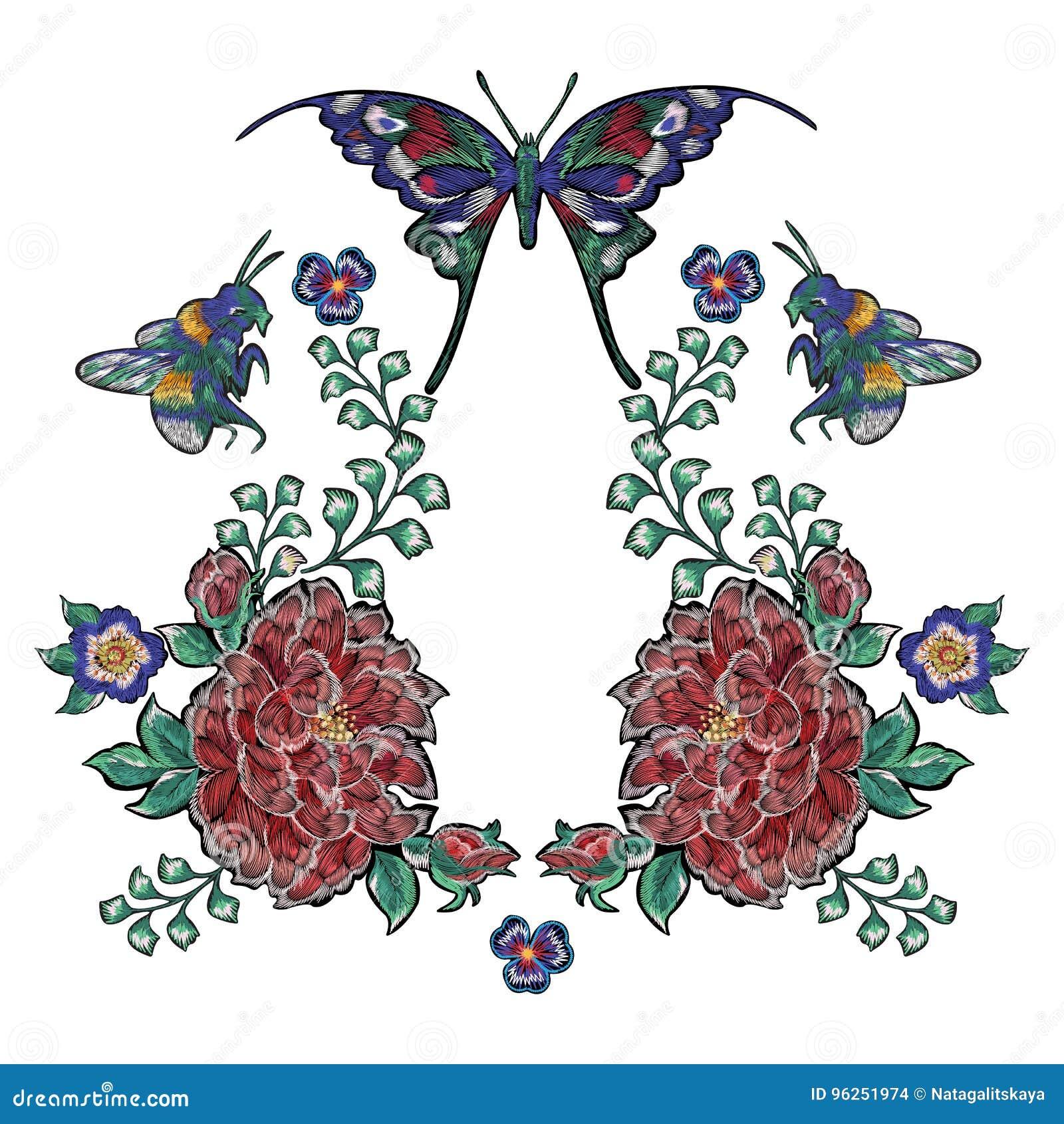 Remiendos Florales Del Bordado Con Las Rosas Abeja Y Mariposas ...
