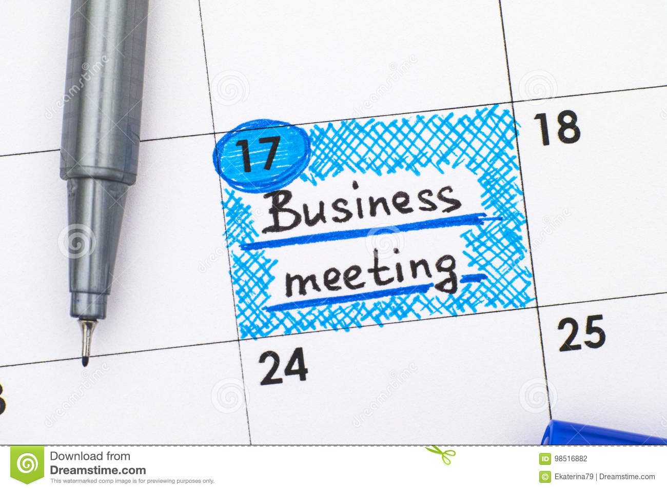 Reminder Business Meeting In Calendar With Pen Stock Photo Image