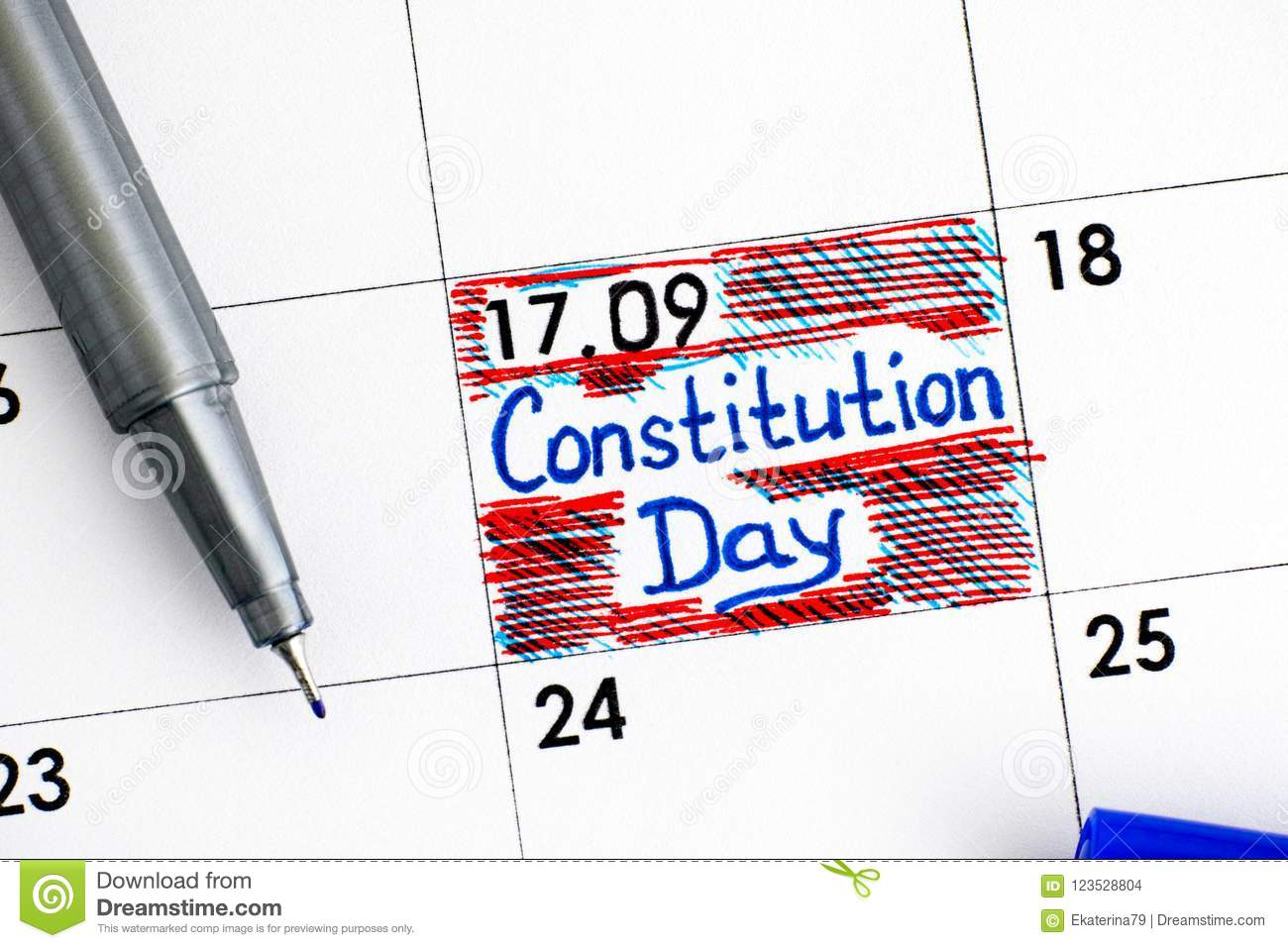 Reminder Constitution Day In Calendar With Blue Pen Stock Photo