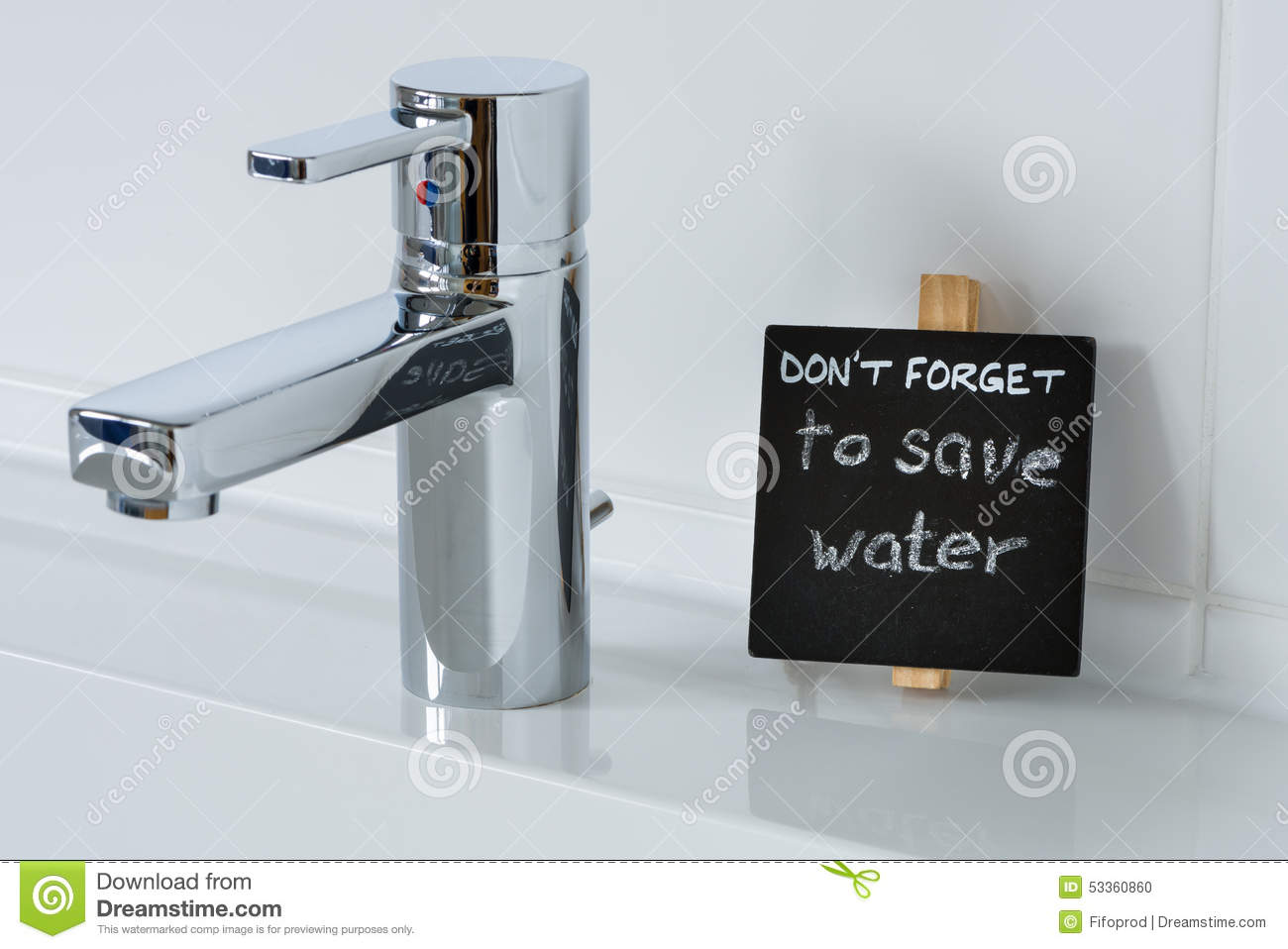 Reminder To Save Water In The Bathroom Stock Photo Image 53360860