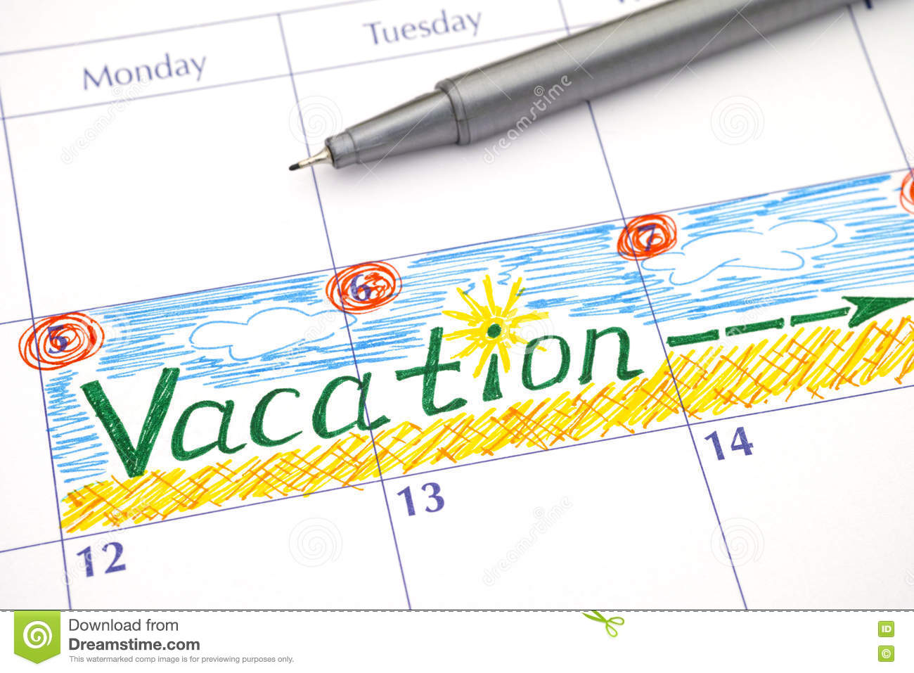 Reminder Vacation In Calendar Stock Photo Image 72506694