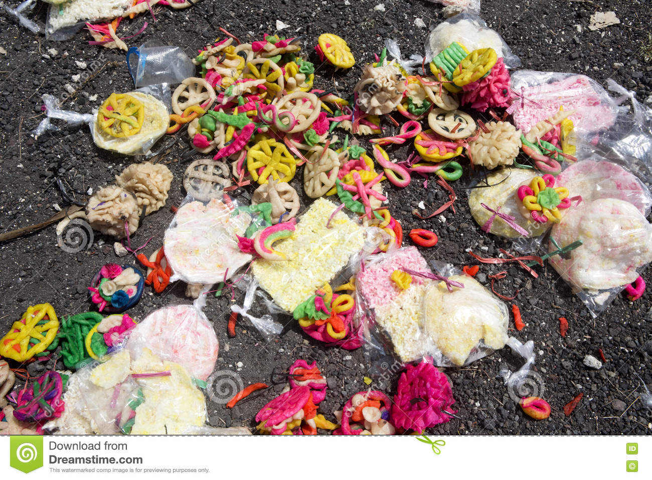 Remnants Of Donations After Hindu Funeral Nusa Penida Indonesia