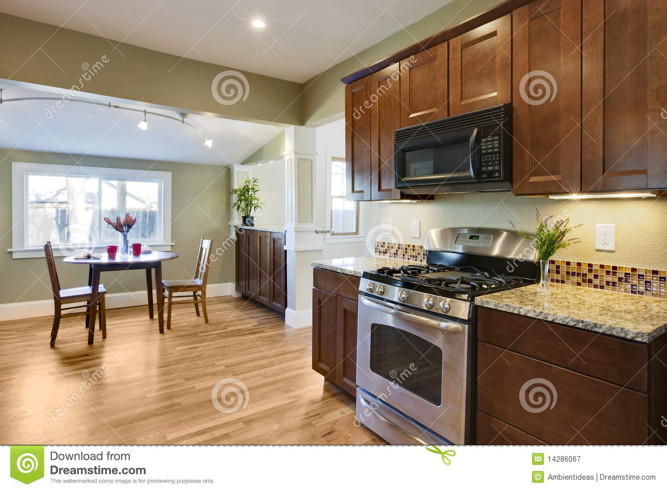 Wood Floors For Kitchens Remodel Kitchen With Wood Flooring Royalty Free Stock Photography