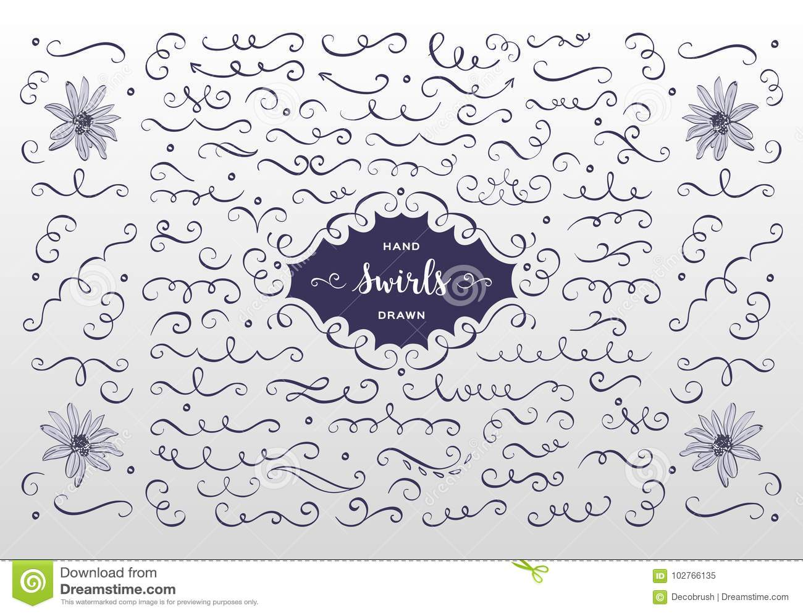 2a011d16ac1e3 Remolinos del vector y colección del flourish Elementos dibujados mano del  diseño