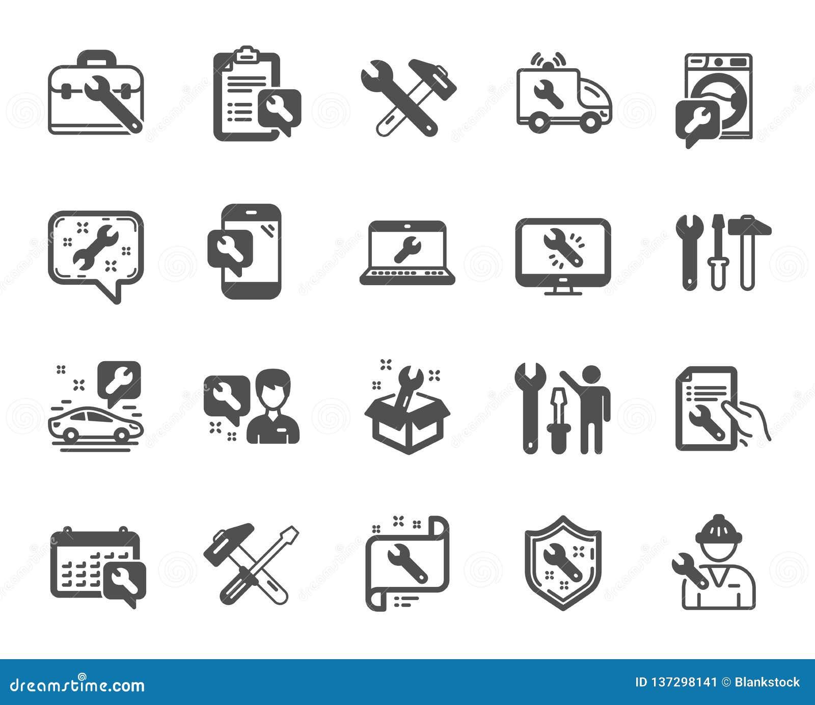 Remontowe ikony Set młota, śrubokrętu i Spanner narzędzie, wektor