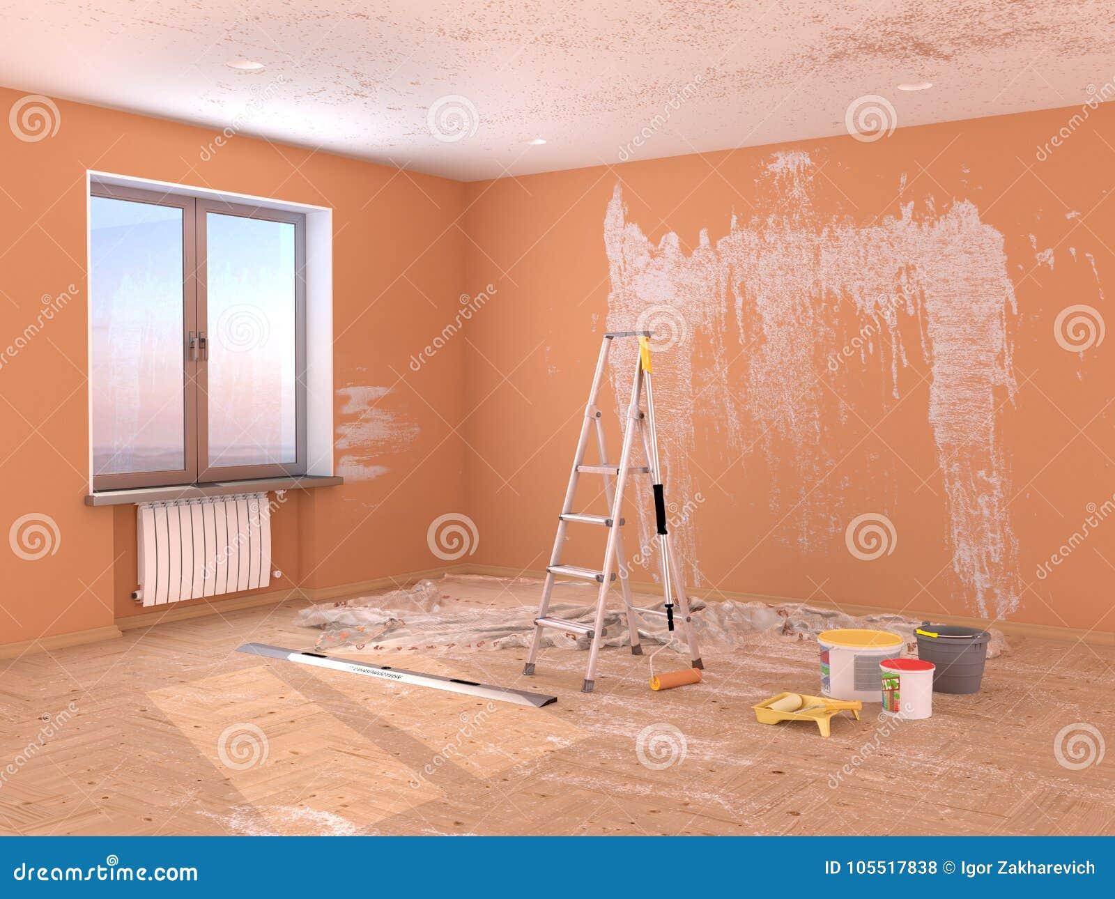 Remontowy pokój Obraz i gipsowanie ściany