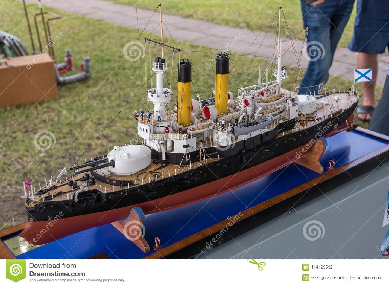 Remote-control Scale Warship At Competitions  Editorial Photography