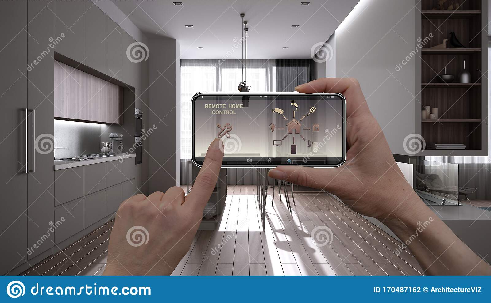 Remote Home Control System On A Digital Smart Phone Tablet. Device ...