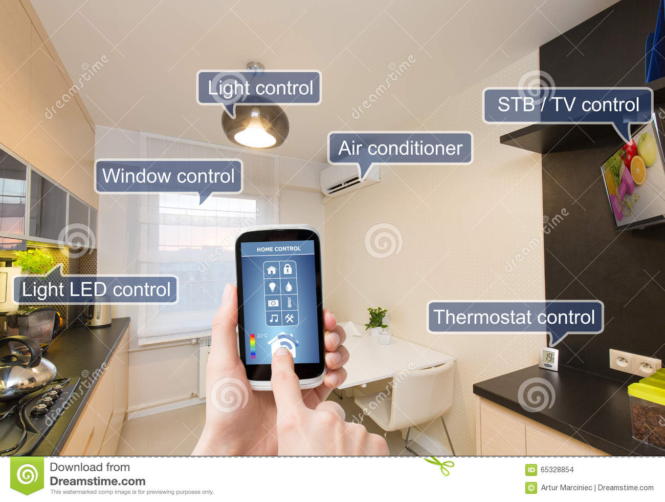 Remote Home Control System On A Smart Phone Stock Photo