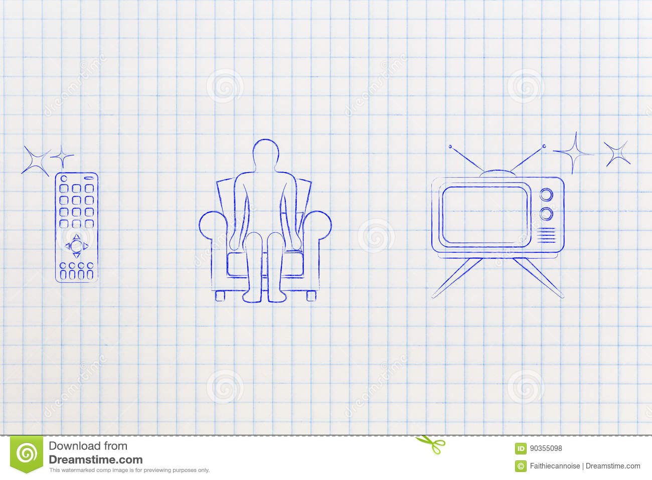 Remote Person On Couch And Tv Set Stock Illustration Illustration
