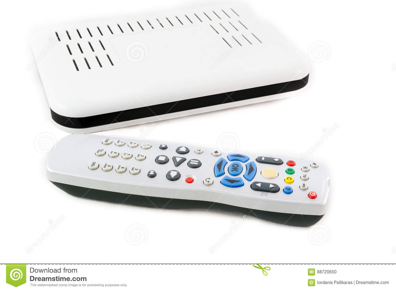 Remote And Receiver For Internet TV On White Front View Stock Photo