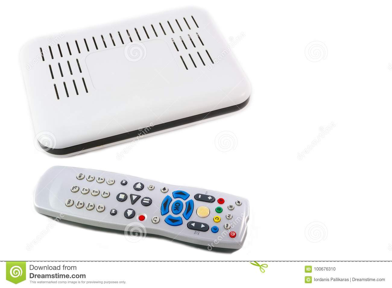 Remote And Receiver For Internet TV On White Top View Stock Photo