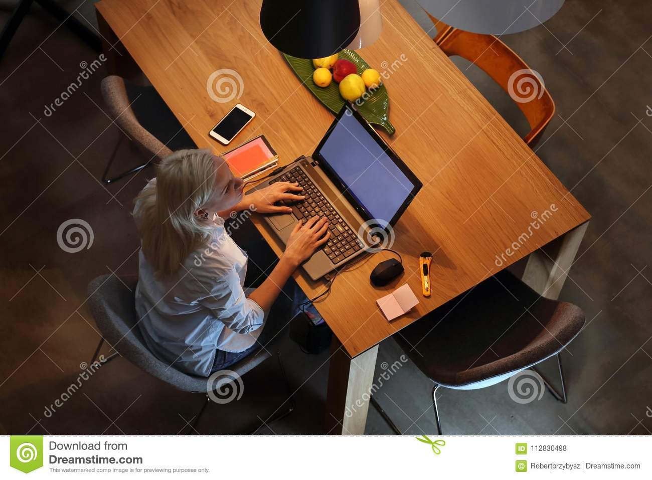 Remote Work On The Computer. Stock Photo - Image of ...