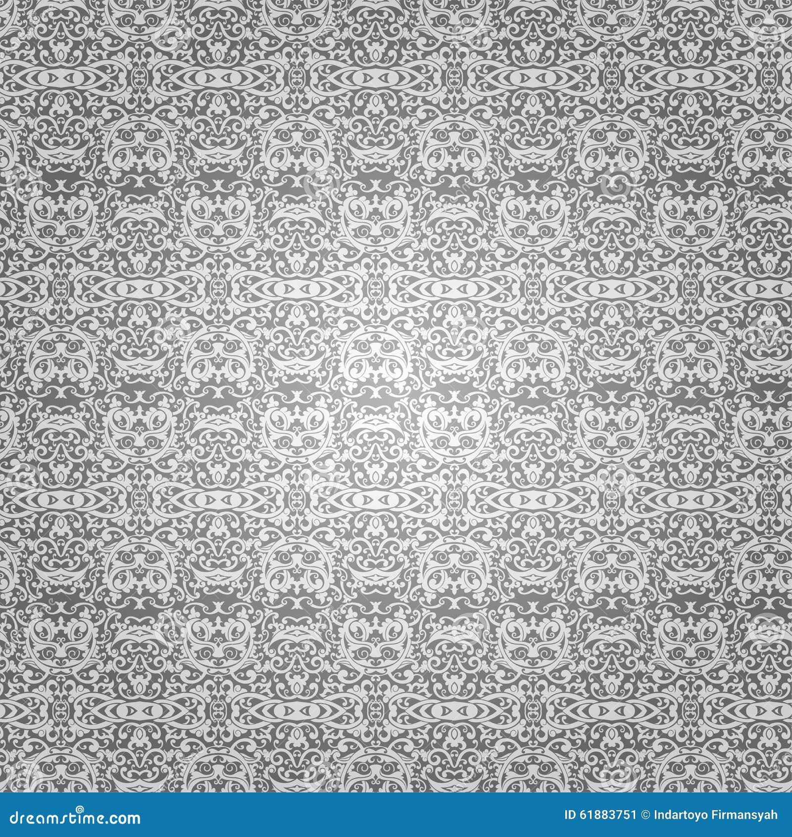 Remous de batik de papier peint et ornement ethnique floral sur l 39 argent - Papier peint ethnique ...
