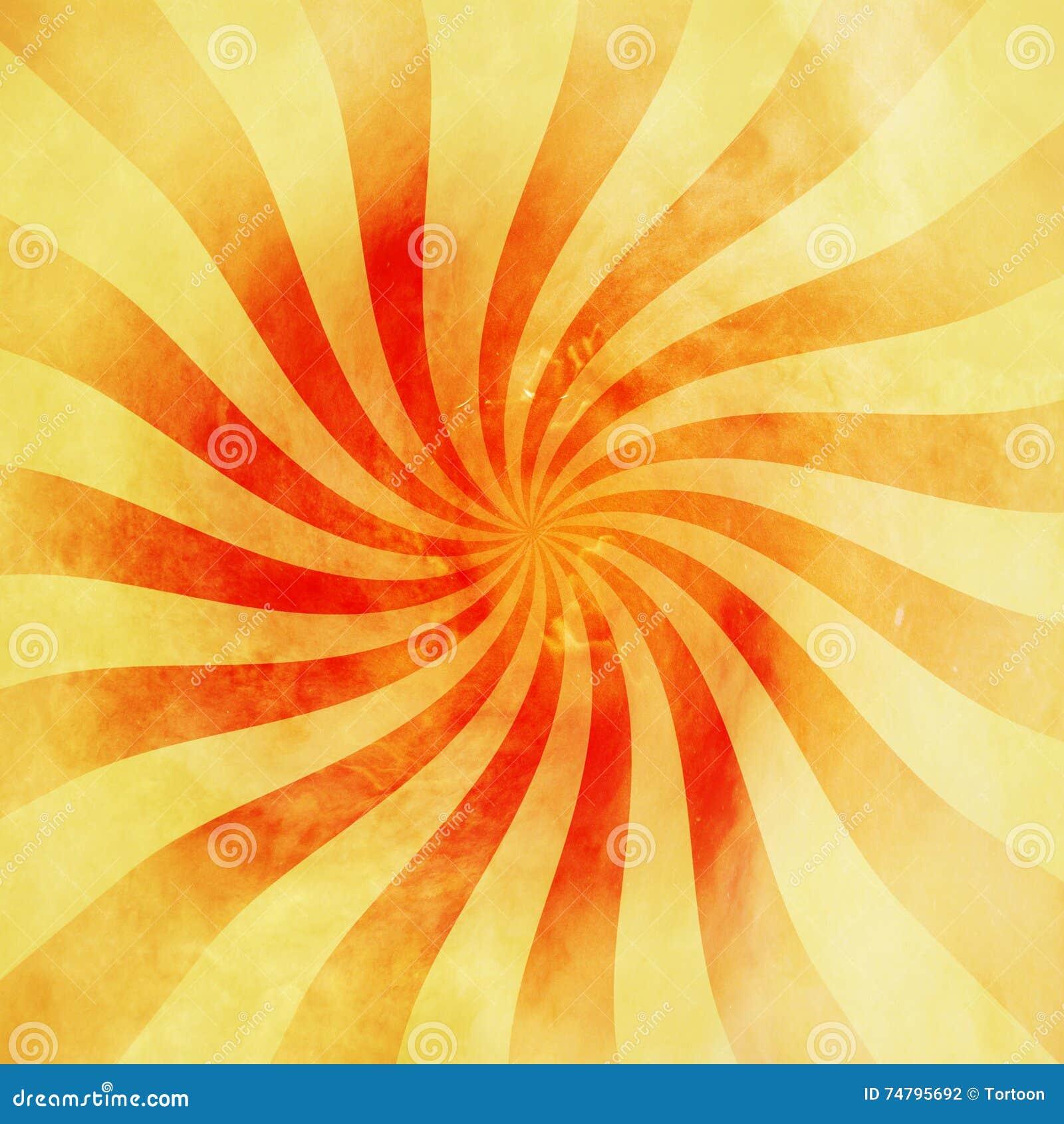 Remous rouge et orange grunge de rayon de soleil de vintage, fond de pirouette