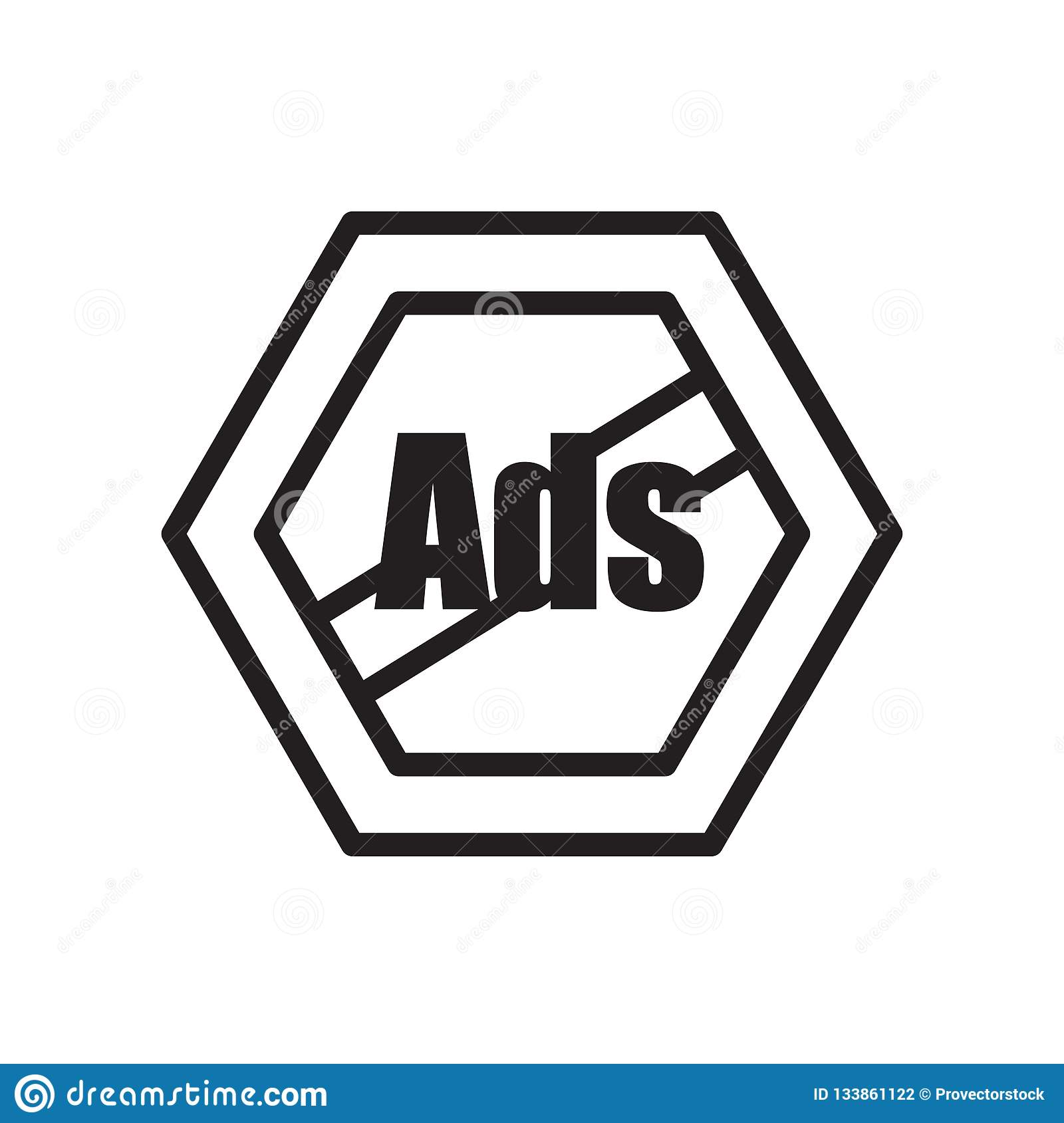 Remove Ads Icon Isolated On White Background Stock Vector
