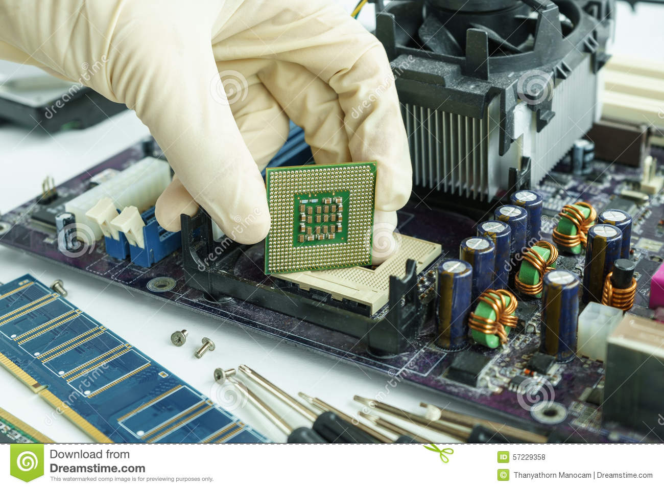Remove Cpu From Main Circuit Board To Check Stock Photo Image Of Repair Electronic Royalty Free Images