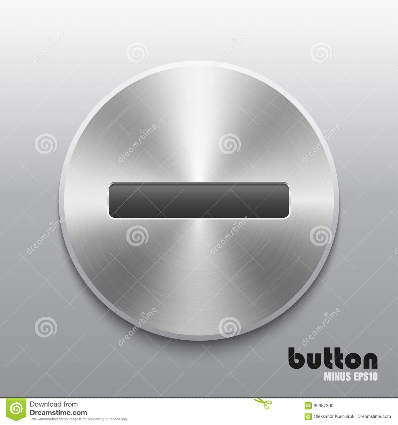 remove level volume button with brushed metal stock vector