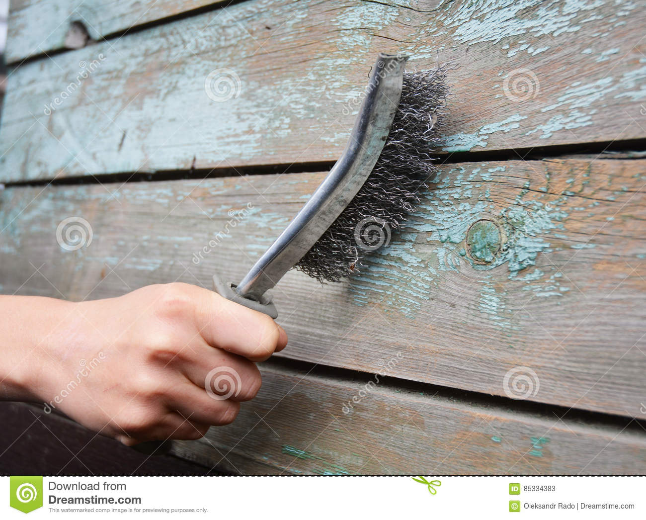Remove The Old Paint From The Wooden Surface. Stock Image - Image of ...