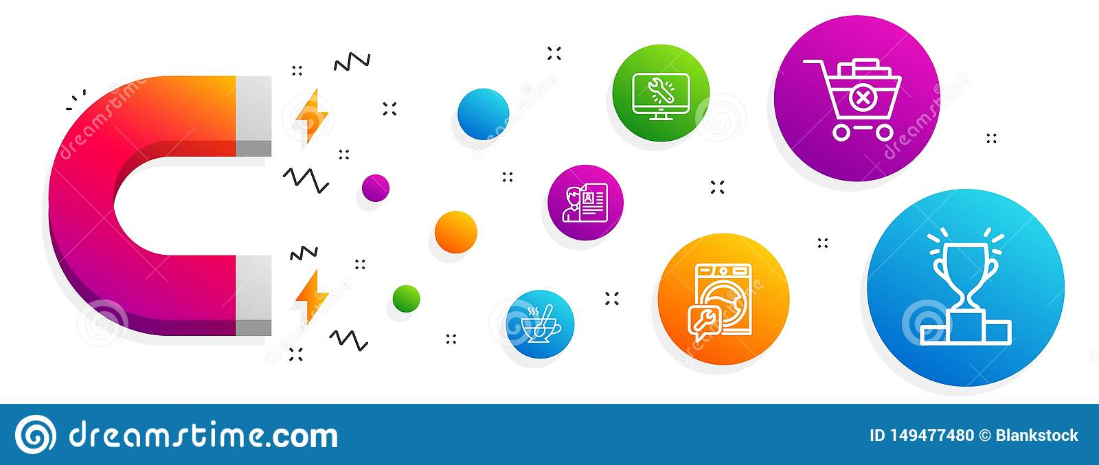 Remove Purchase, Job Interview And Washing Machine Icons Set