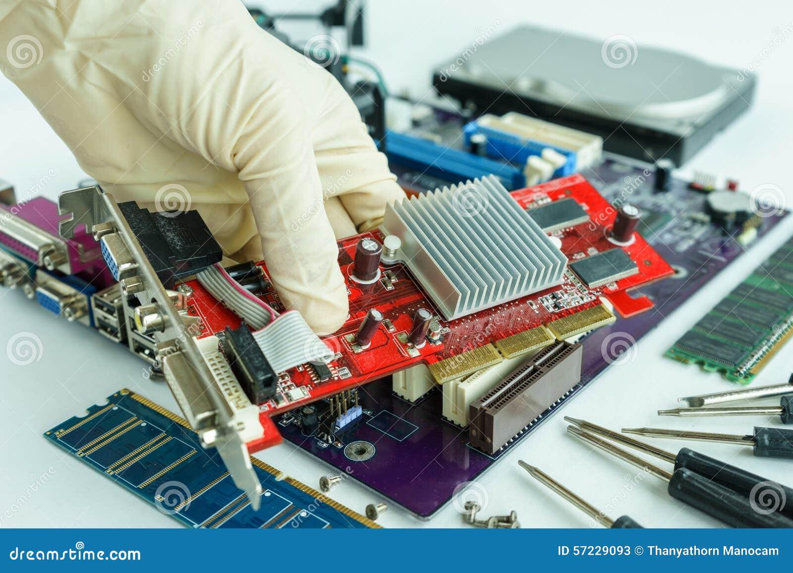 Remove Vga Card From Main Circuit Board Stock Image Of Repairing Computer Royalty Free Photo