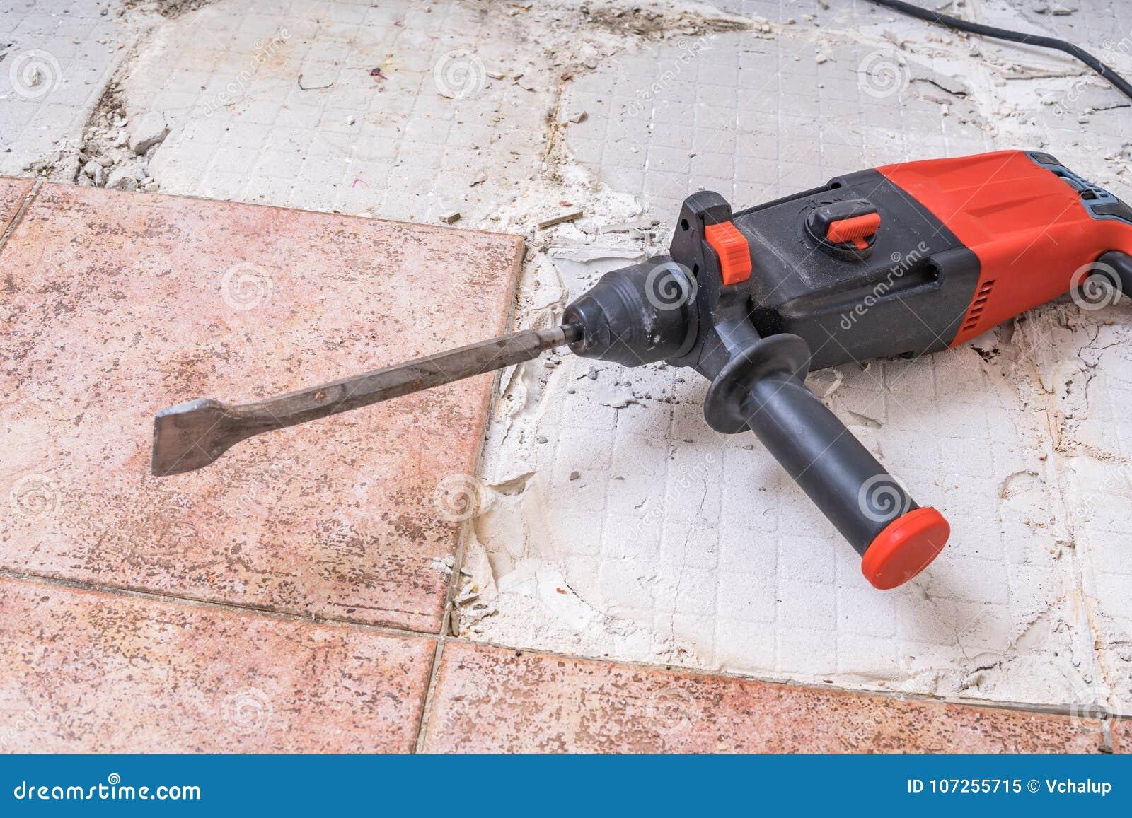 Removing Old Tiles Jackhammer Drilling Demolition